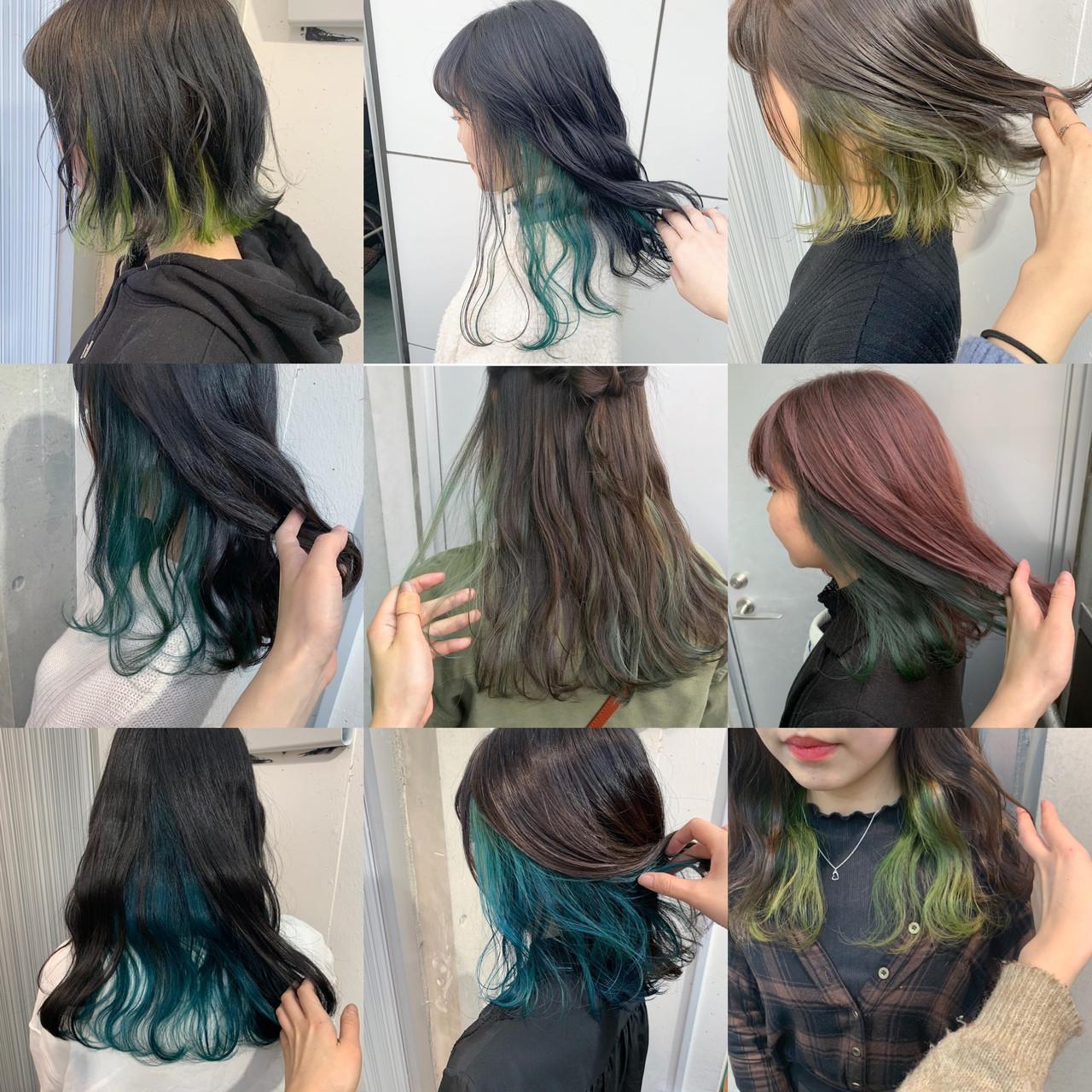 セミロング インナーグリーン シアグレー ストリートヘアスタイルや髪型の写真・画像
