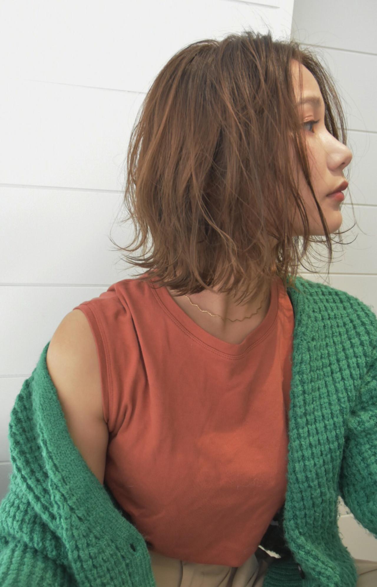 ボブ フェミニン 色気 ミディアムヘアスタイルや髪型の写真・画像