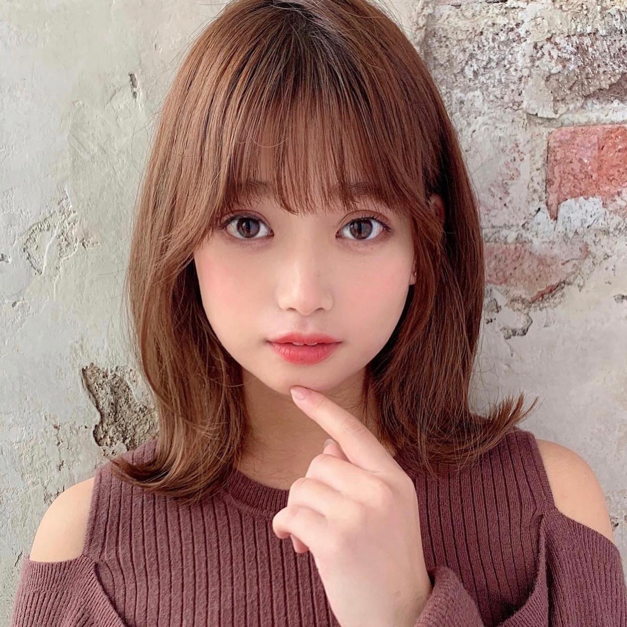 ミディアム 大人可愛い 韓国 韓国風ヘアー ヘアスタイルや髪型の写真・画像