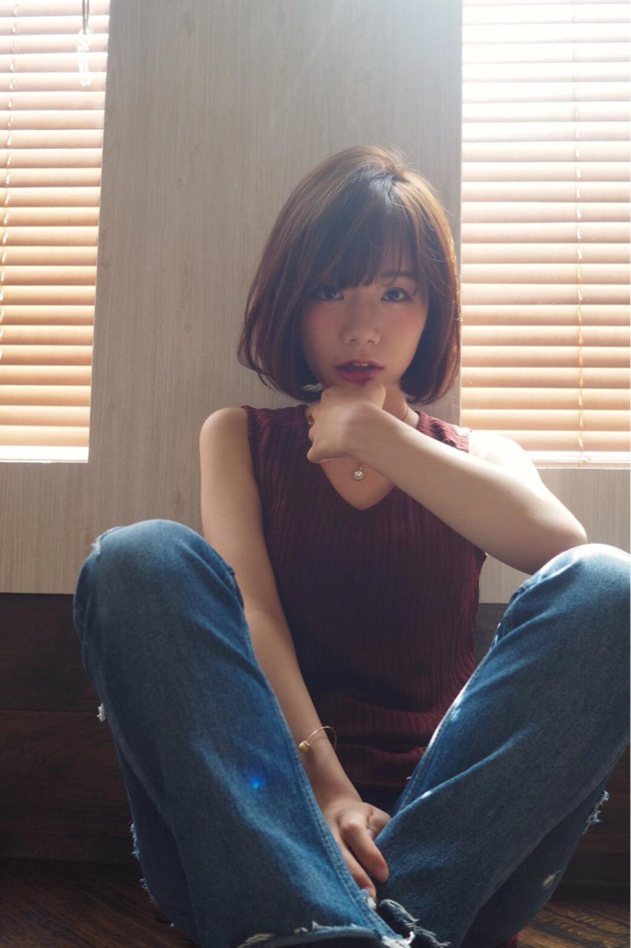 前髪あり リラクシー 秋 ボブヘアスタイルや髪型の写真・画像