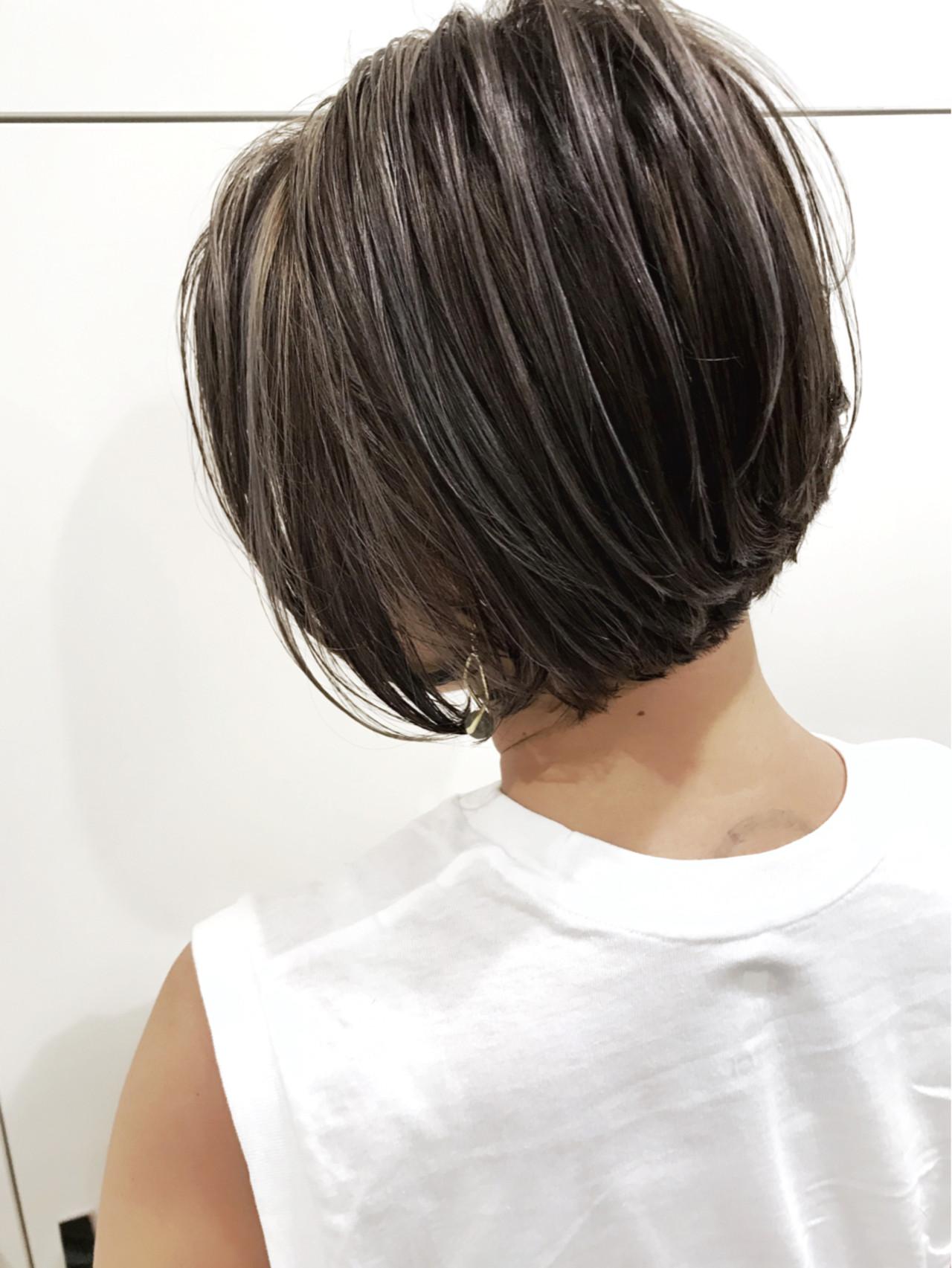 外国人風 ハイライト ボブ バレイヤージュ ヘアスタイルや髪型の写真・画像 | 長谷川 龍太 / hair design tea