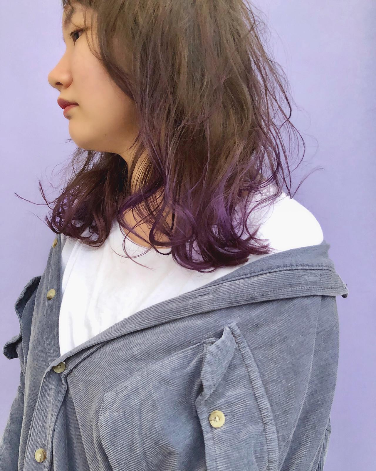 デザインカラー 裾カラー セミロング ヘアアレンジヘアスタイルや髪型の写真・画像