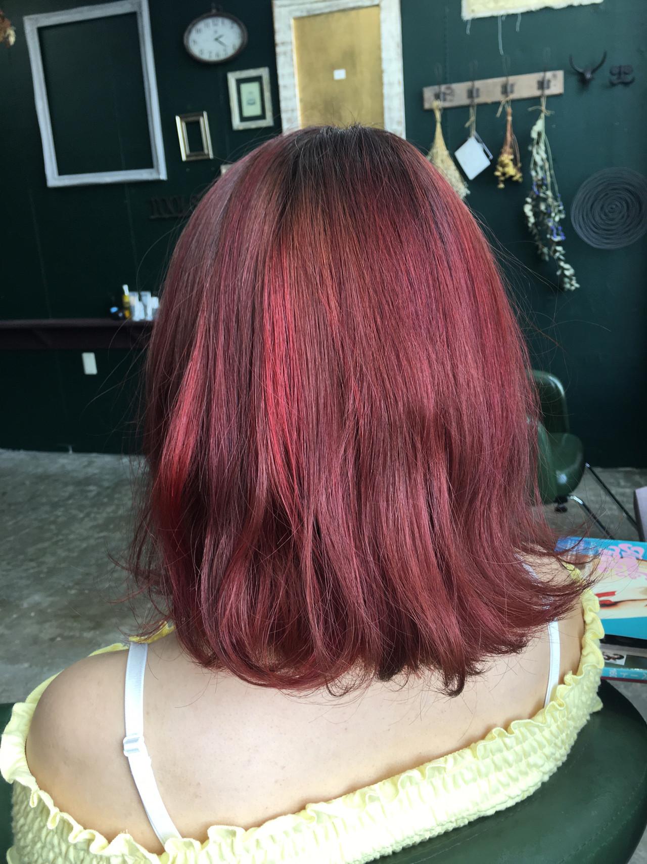 モード ミディアム ハイライト 個性的ヘアスタイルや髪型の写真・画像