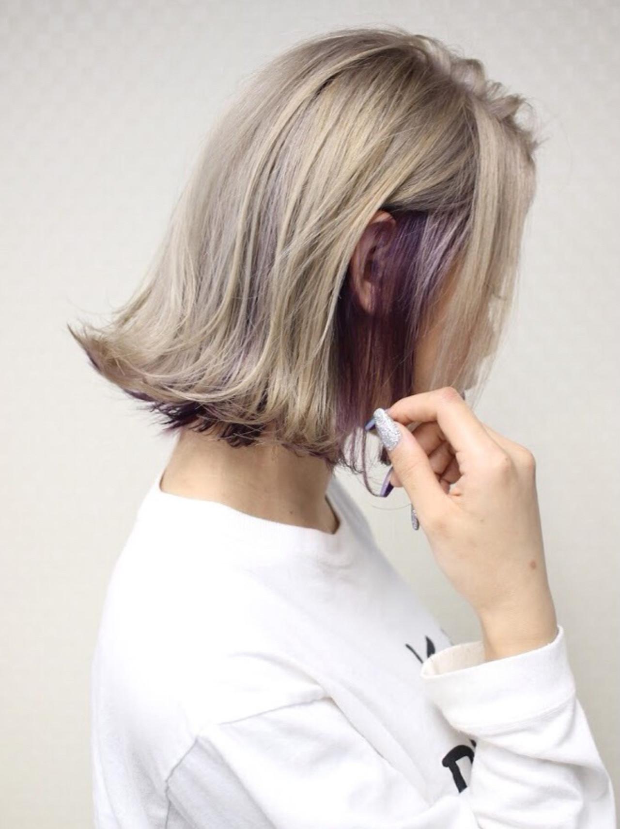インナーカラー ボブ ストリート 切りっぱなしボブ ヘアスタイルや髪型の写真・画像 | イチマル サトル / Oz  Umeda