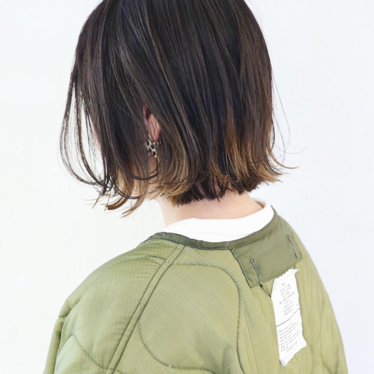 バレイヤージュ ボブ アウトドア ストリート ヘアスタイルや髪型の写真・画像 | 三好 佳奈美 / Baco.(バコ)