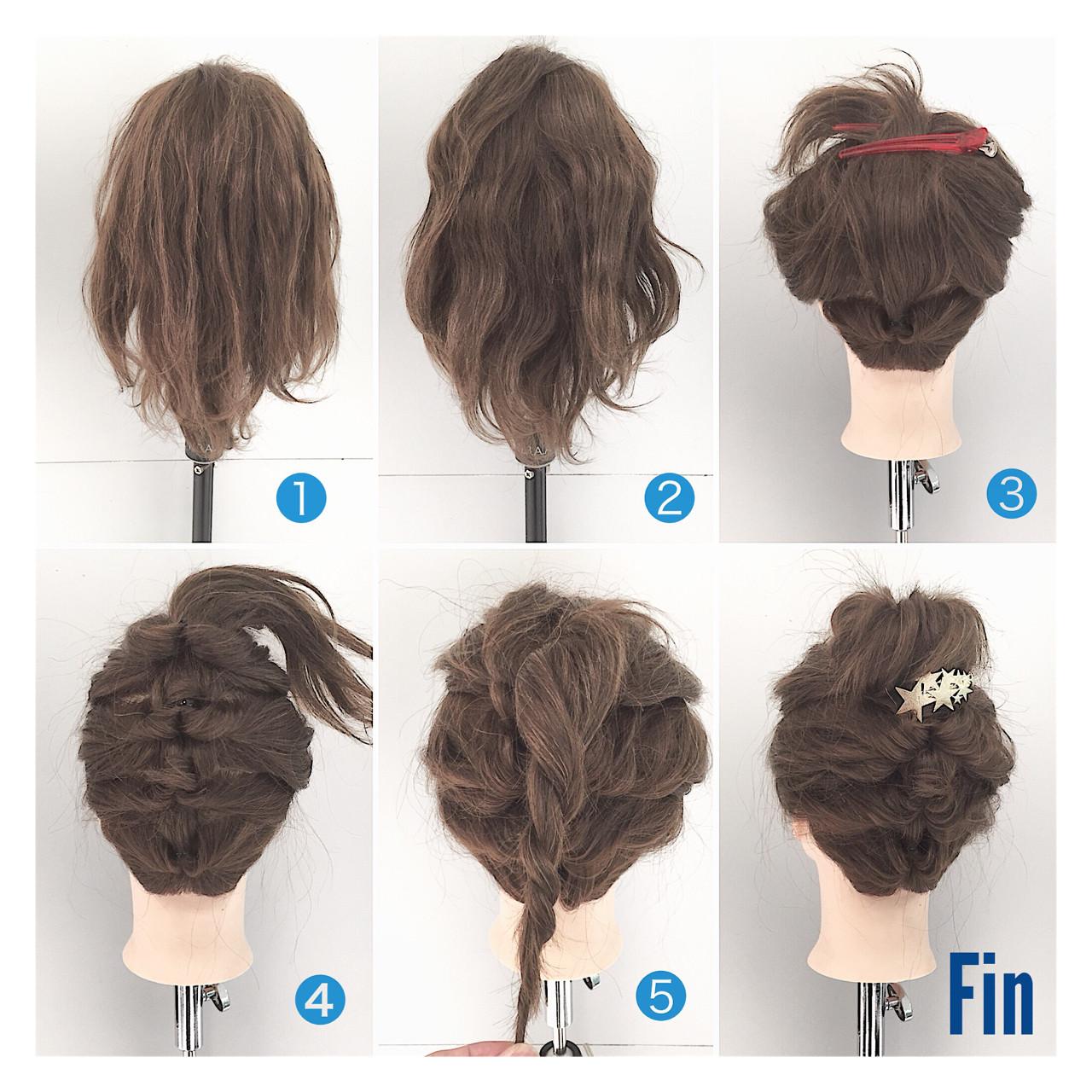ヘアアレンジ ミディアム くるりんぱ 逆りんぱヘアスタイルや髪型の写真・画像