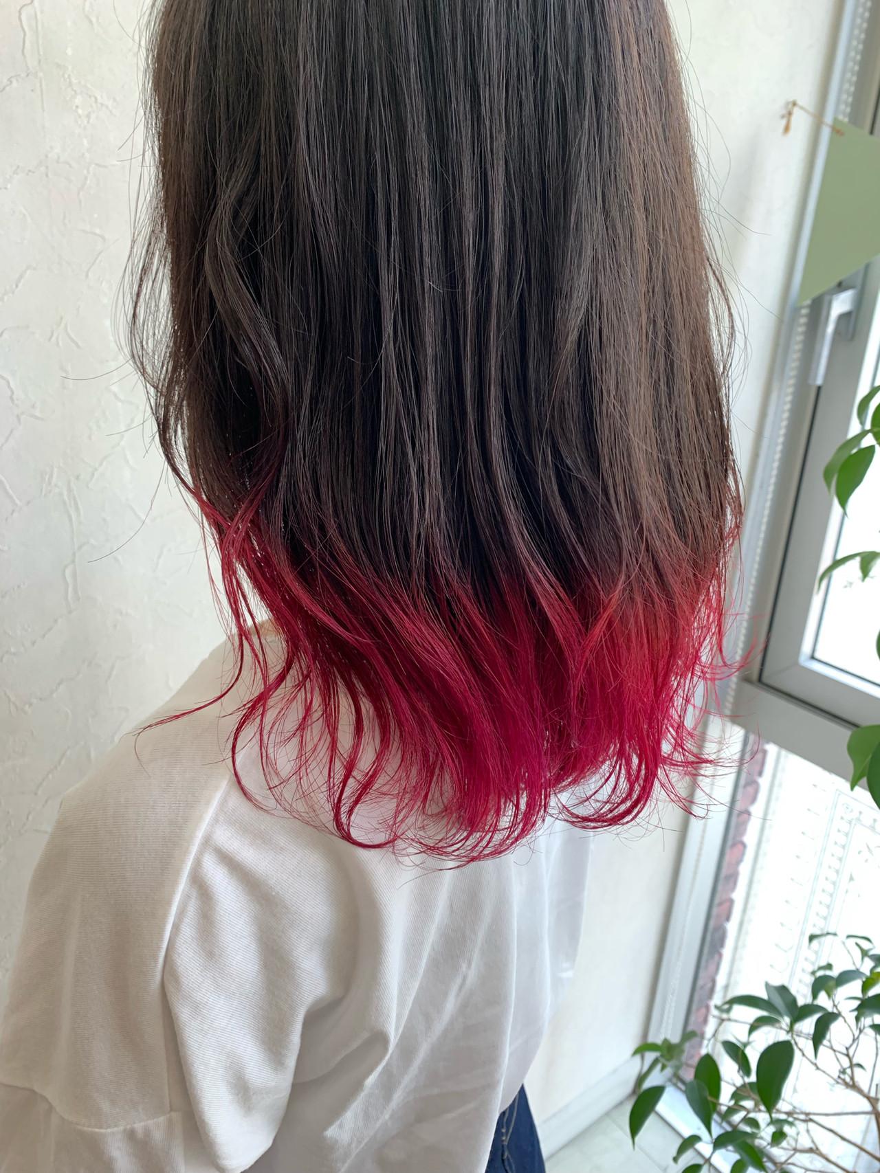 ハデ髪 ストリート 派手髪 レッドヘアスタイルや髪型の写真・画像
