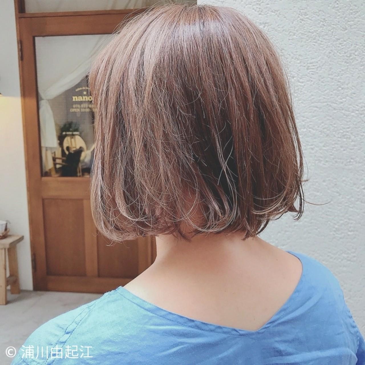ナチュラル ゆるふわ ボブ ハイライト ヘアスタイルや髪型の写真・画像   浦川由起江 / nanon