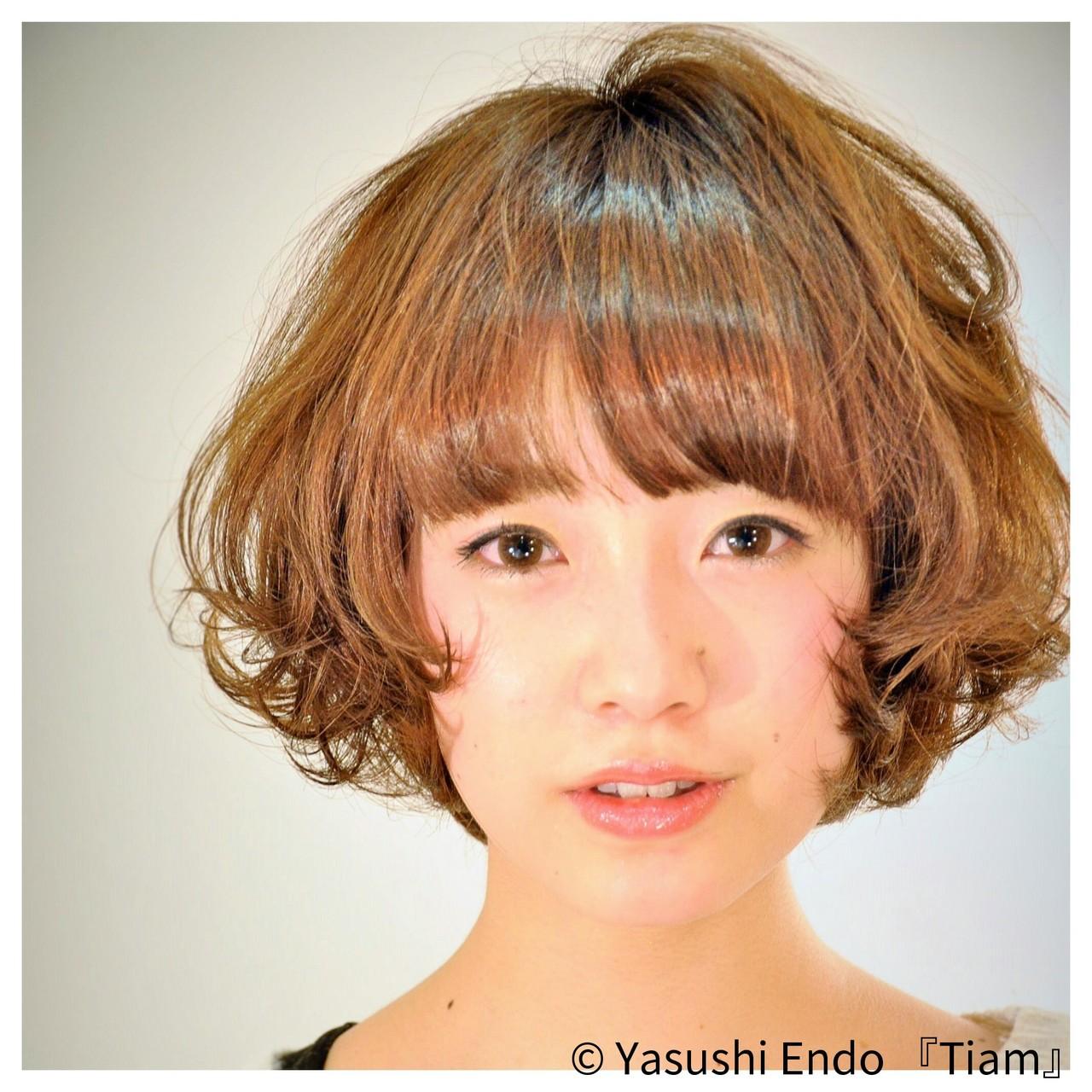 イルミナカラー まとまるボブ ボブ 大人かわいい ヘアスタイルや髪型の写真・画像   Yasushi Endo 『Tiam』 / Tiam Hair 弘明寺