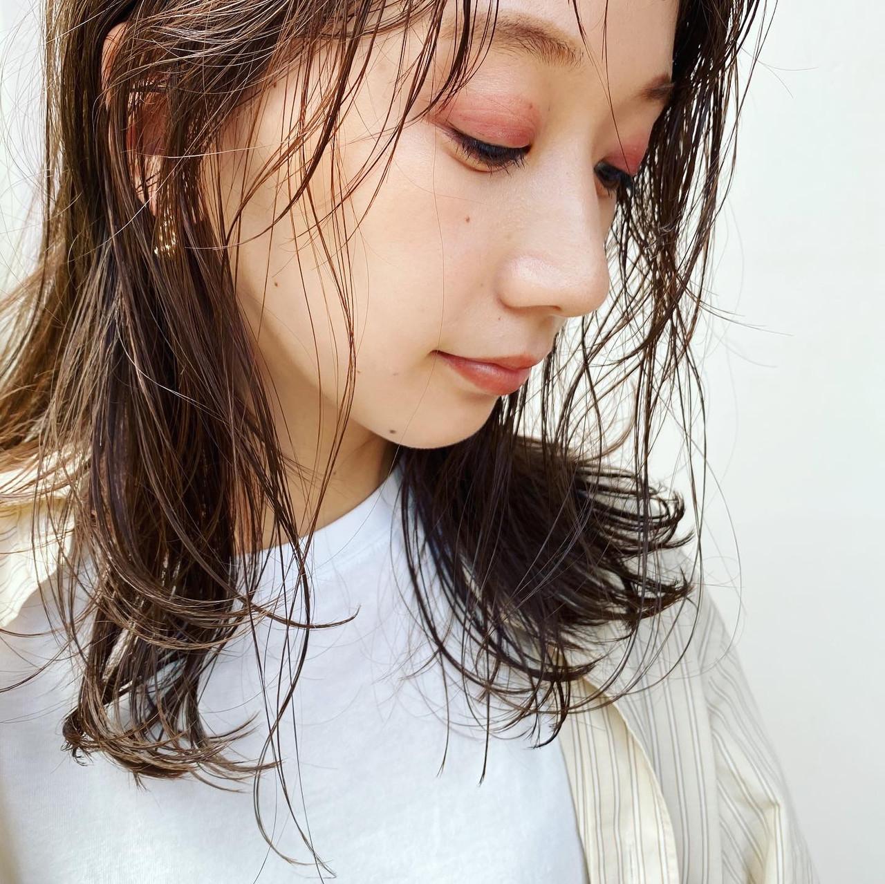 ヘルシー ミディアム 透明感カラー ナチュラル ヘアスタイルや髪型の写真・画像