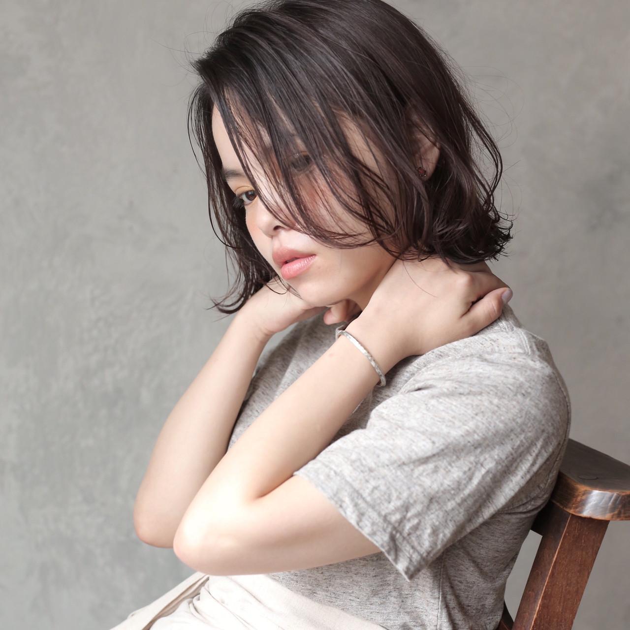 簡単スタイリング ミニボブ 透明感カラー ボブヘアスタイルや髪型の写真・画像