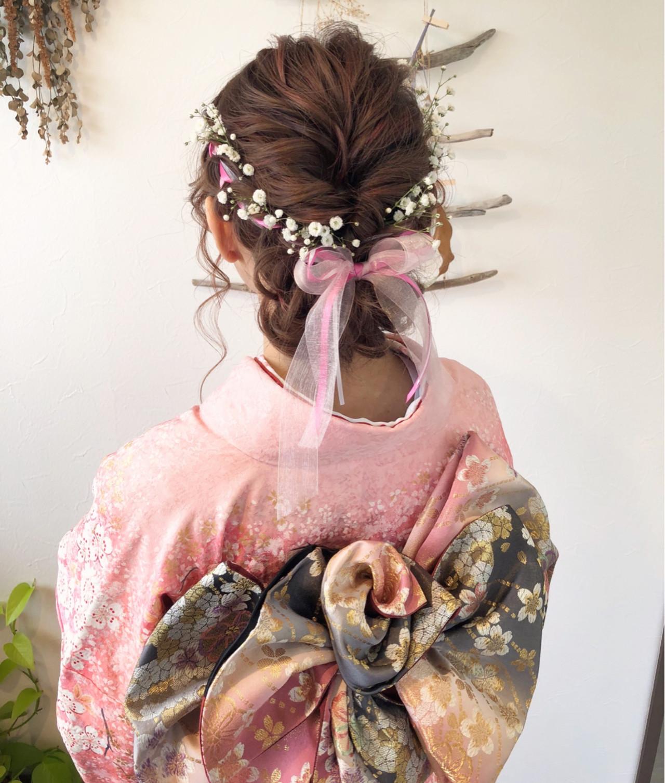 ヘアアレンジ 成人式 着物 セミロングヘアスタイルや髪型の写真・画像