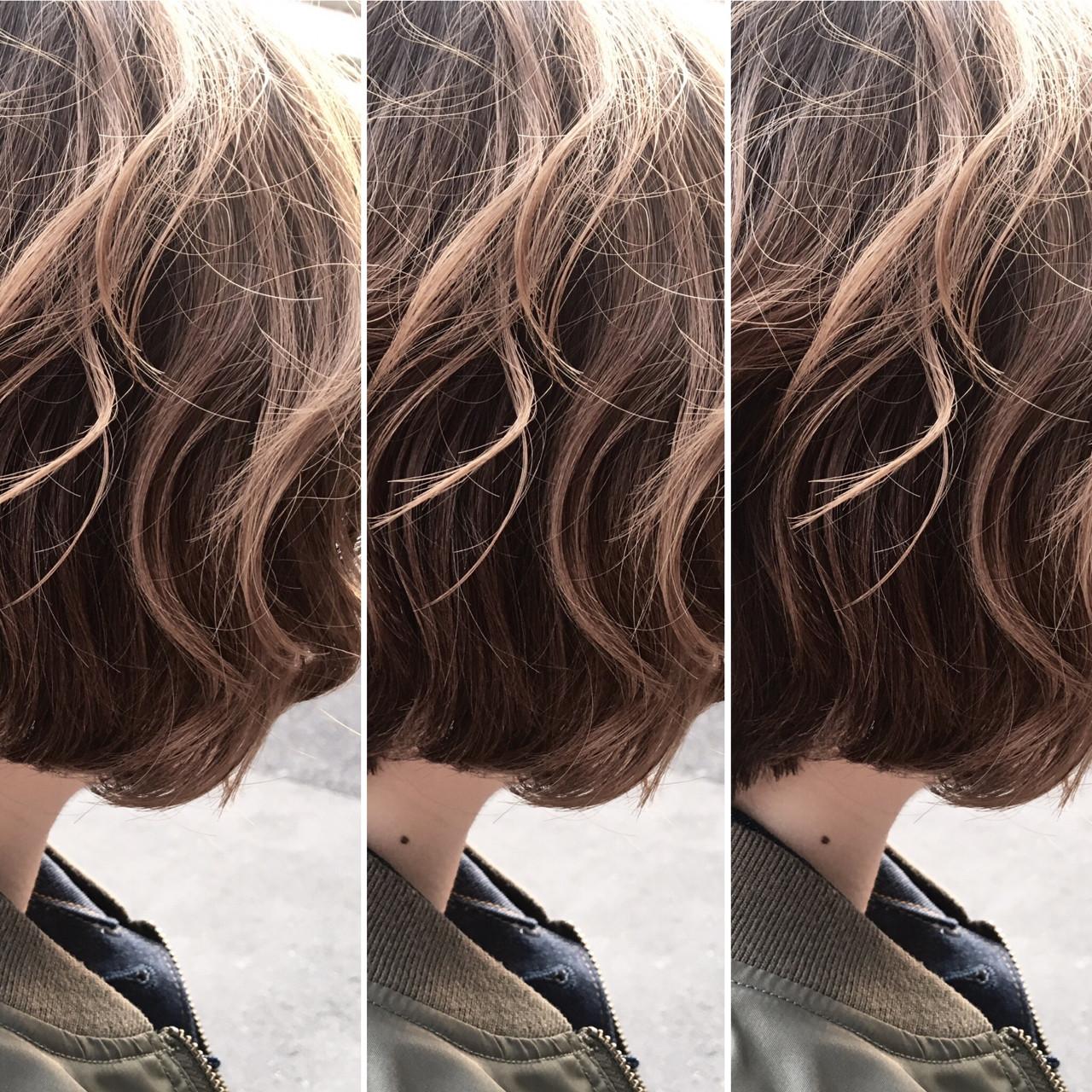 ハイライト アッシュ ナチュラル ニュアンスヘアスタイルや髪型の写真・画像