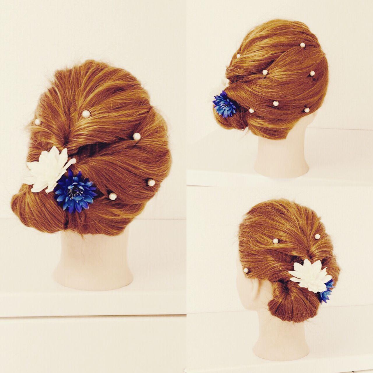 簡単ヘアアレンジ ガーリー セミロング セルフヘアアレンジ ヘアスタイルや髪型の写真・画像 | いまむ / ARES