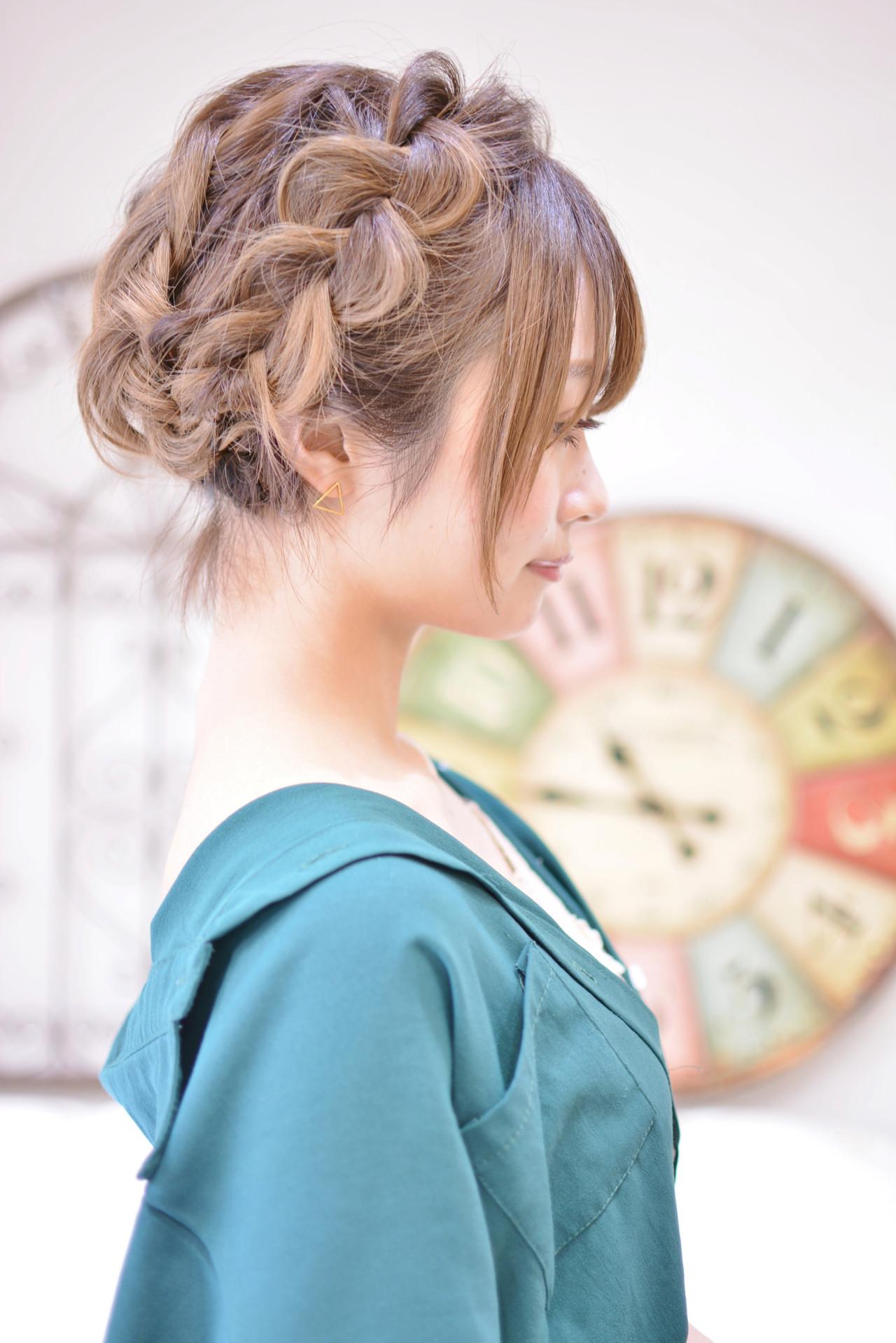 ヘアアレンジ 簡単ヘアアレンジ ガーリー シースルーバング ヘアスタイルや髪型の写真・画像