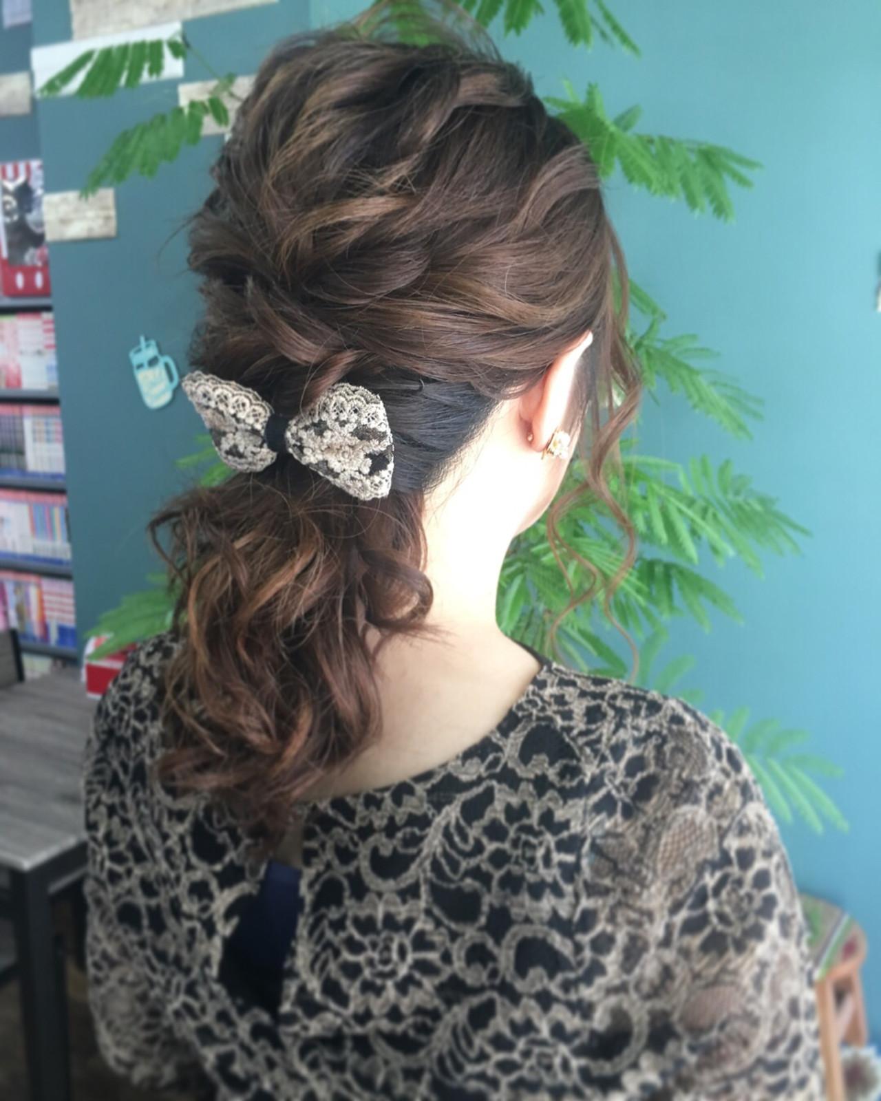 結婚式 ミディアム 上品 エレガント ヘアスタイルや髪型の写真・画像   さとみ / e'clat