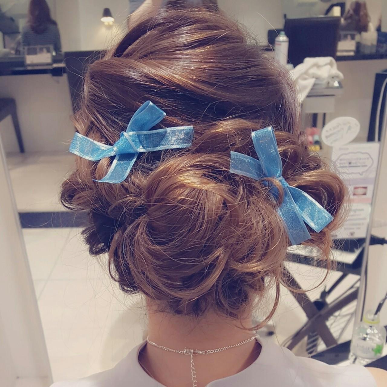 ショート ヘアアレンジ 結婚式 ガーリーヘアスタイルや髪型の写真・画像