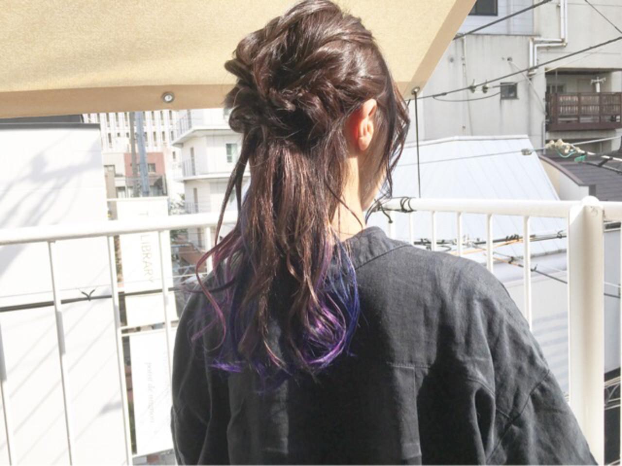 ストリート ミディアム ネイビーブルー ブルーラベンダー ヘアスタイルや髪型の写真・画像   COM PASS 太一 / COM PASS