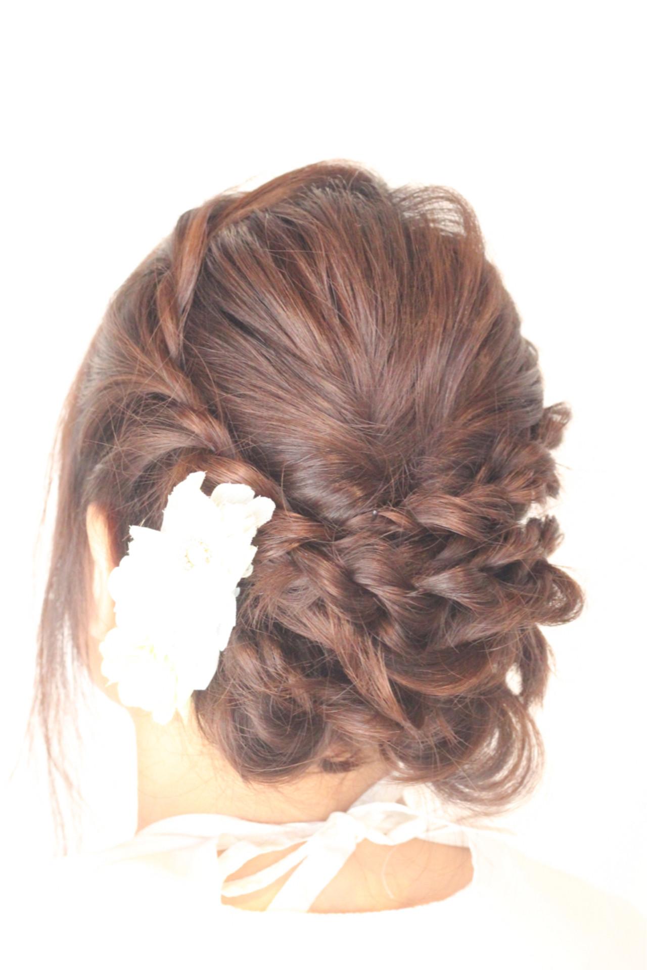 結婚式 ヘアアレンジ フェミニン 女子力 ヘアスタイルや髪型の写真・画像 | 本間幸 / umica