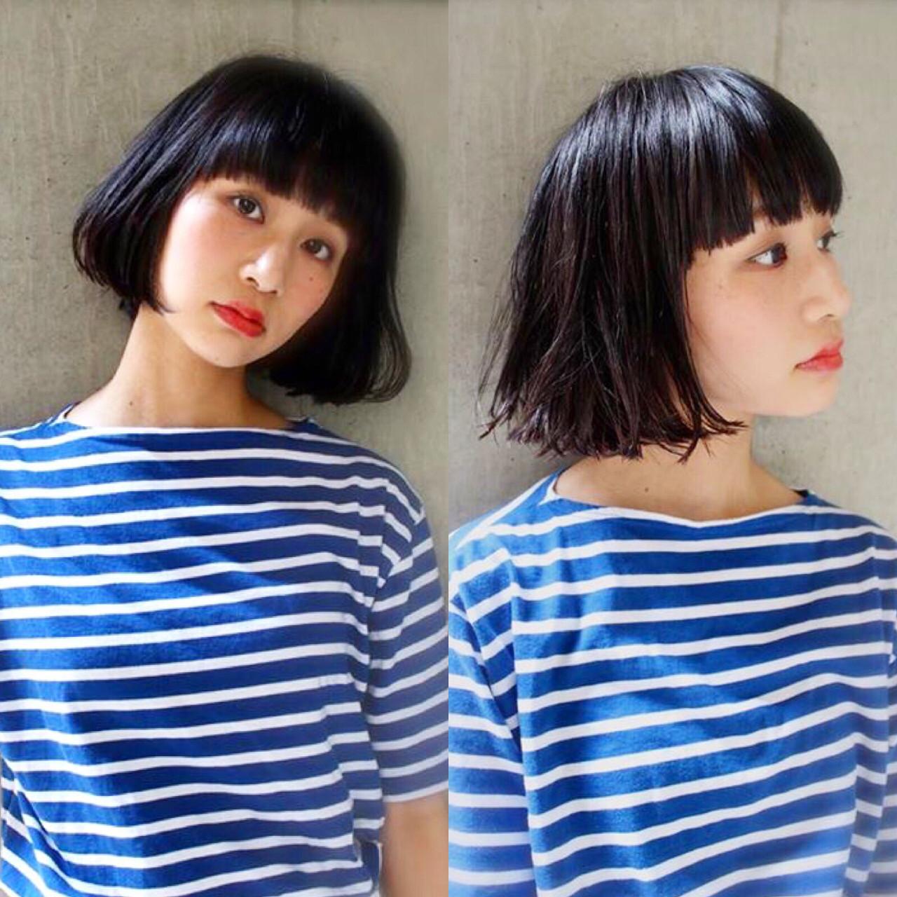 暗髪 ガーリー 外ハネ 前髪あり ヘアスタイルや髪型の写真・画像   bibito crew / bibito