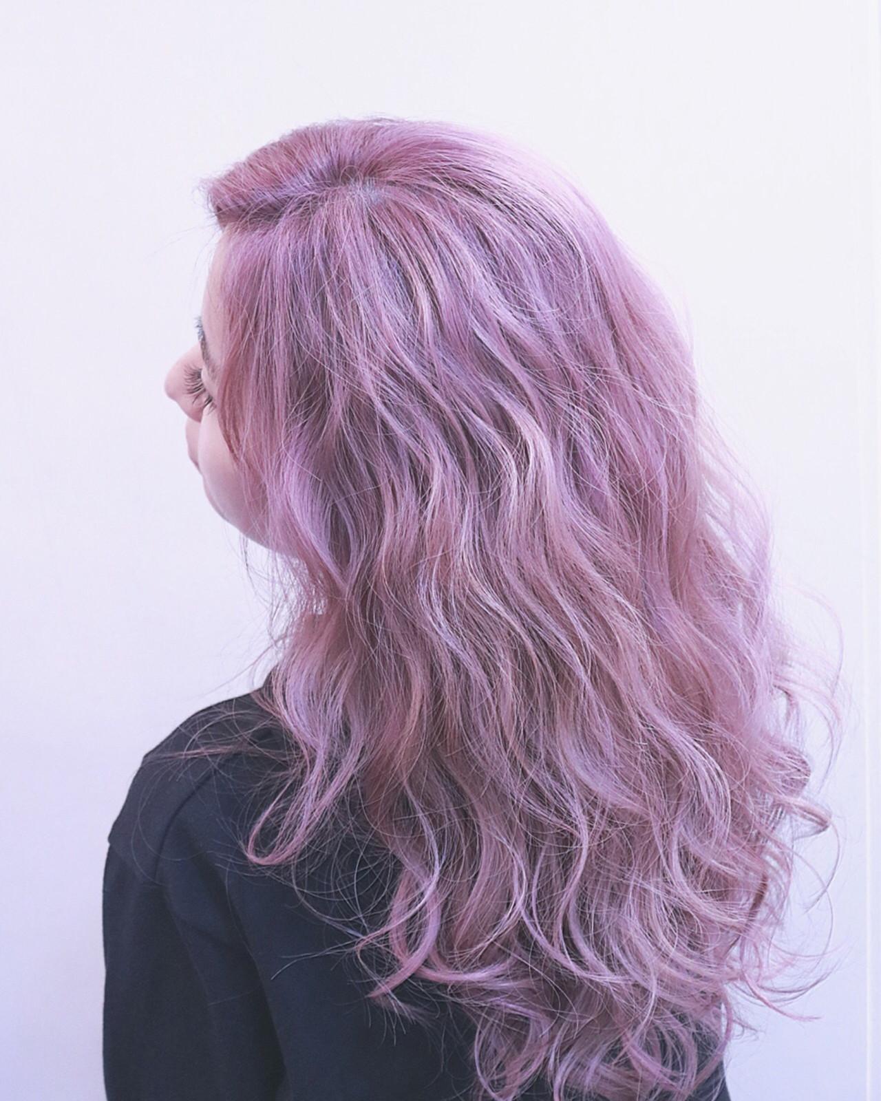 ストリート ハイライト ロング ピンク ヘアスタイルや髪型の写真・画像 | RUMINA //高田ゆみこ / Rumina
