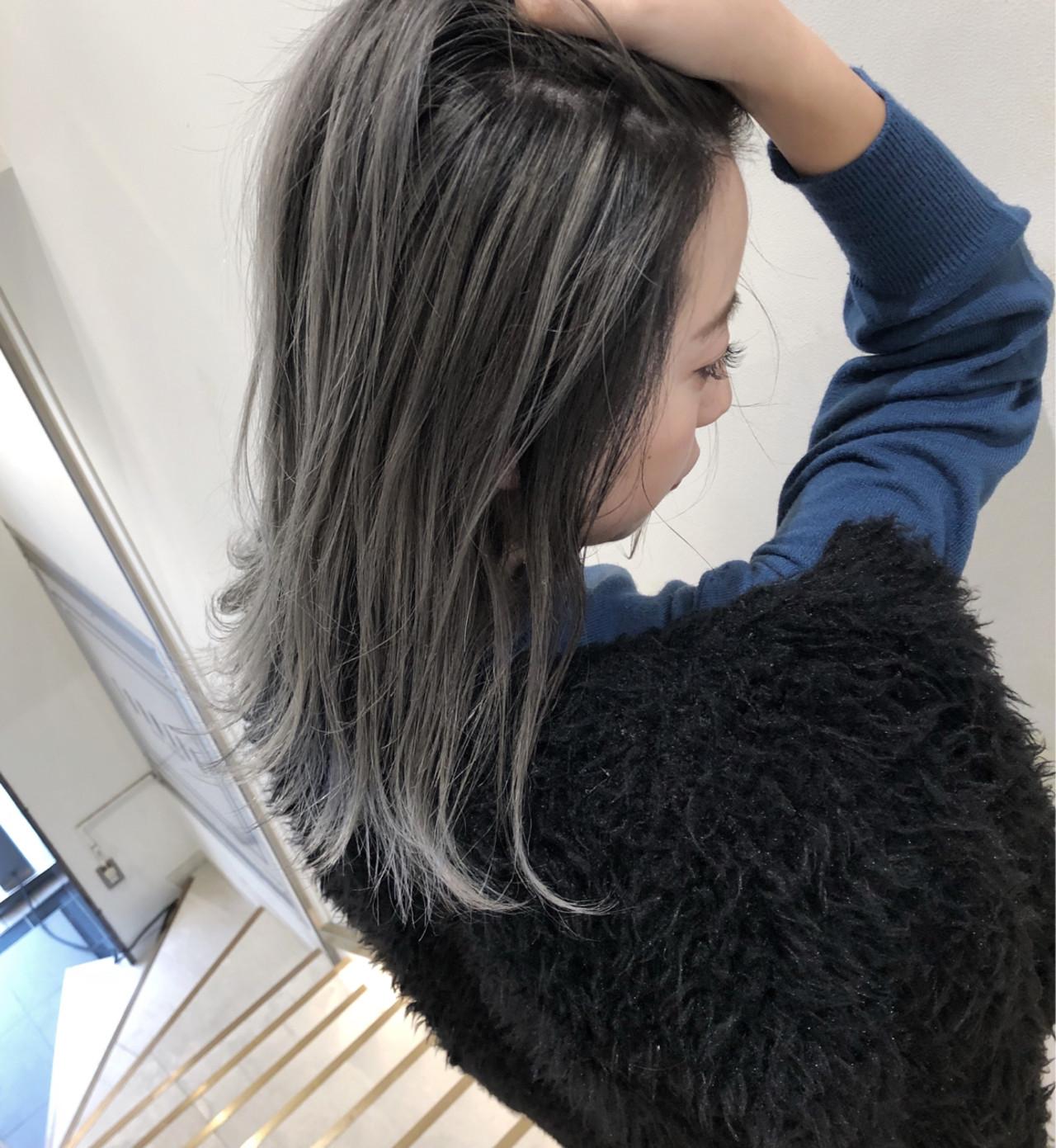 ストリート ミディアム 透明感 ハイライトヘアスタイルや髪型の写真・画像