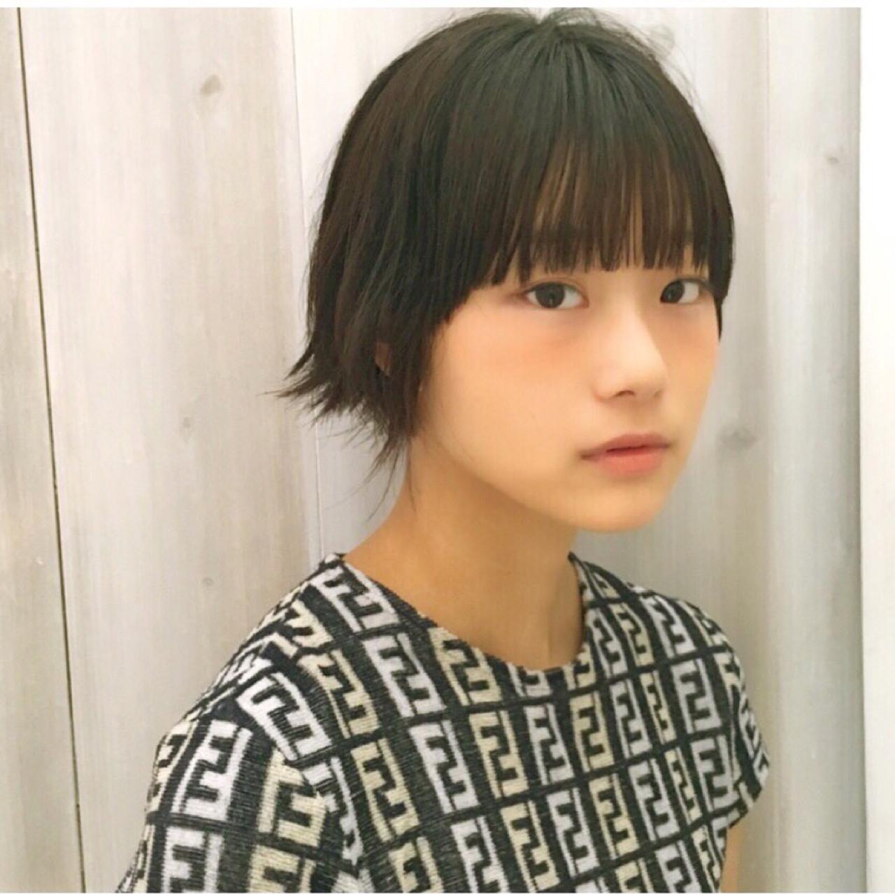 黒髪 ナチュラル ピュア ショート ヘアスタイルや髪型の写真・画像 | 中村 美穂 / k-two