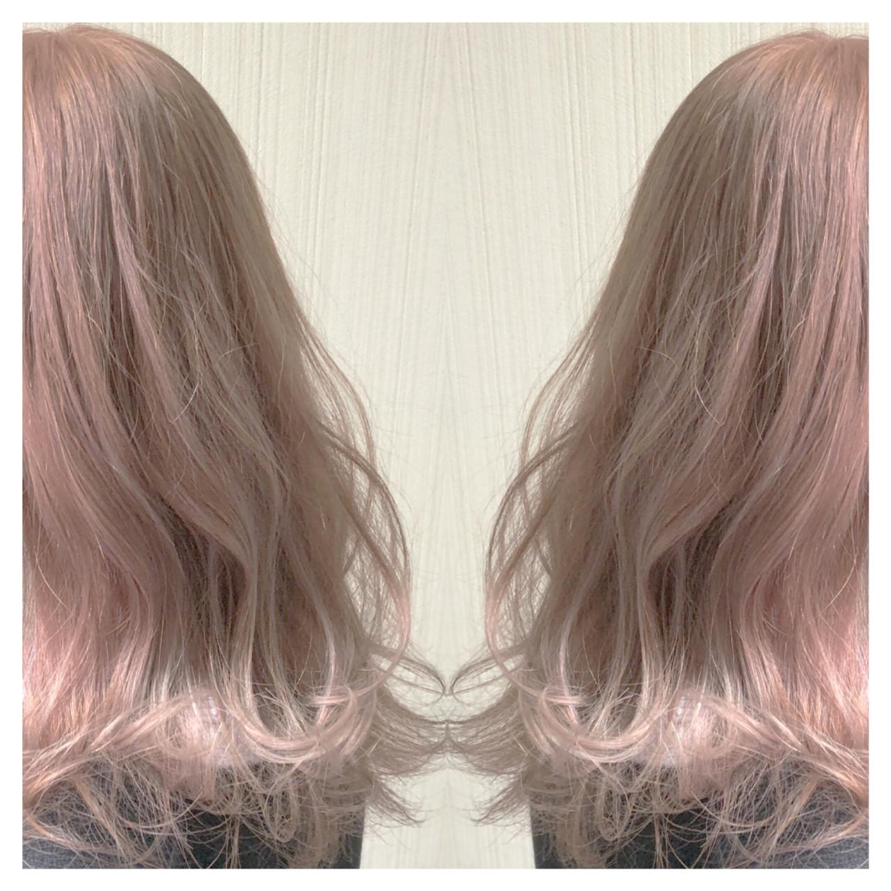 アンニュイほつれヘア ピンクベージュ セミロング 透明感カラー ヘアスタイルや髪型の写真・画像   クラ / TOMCAT