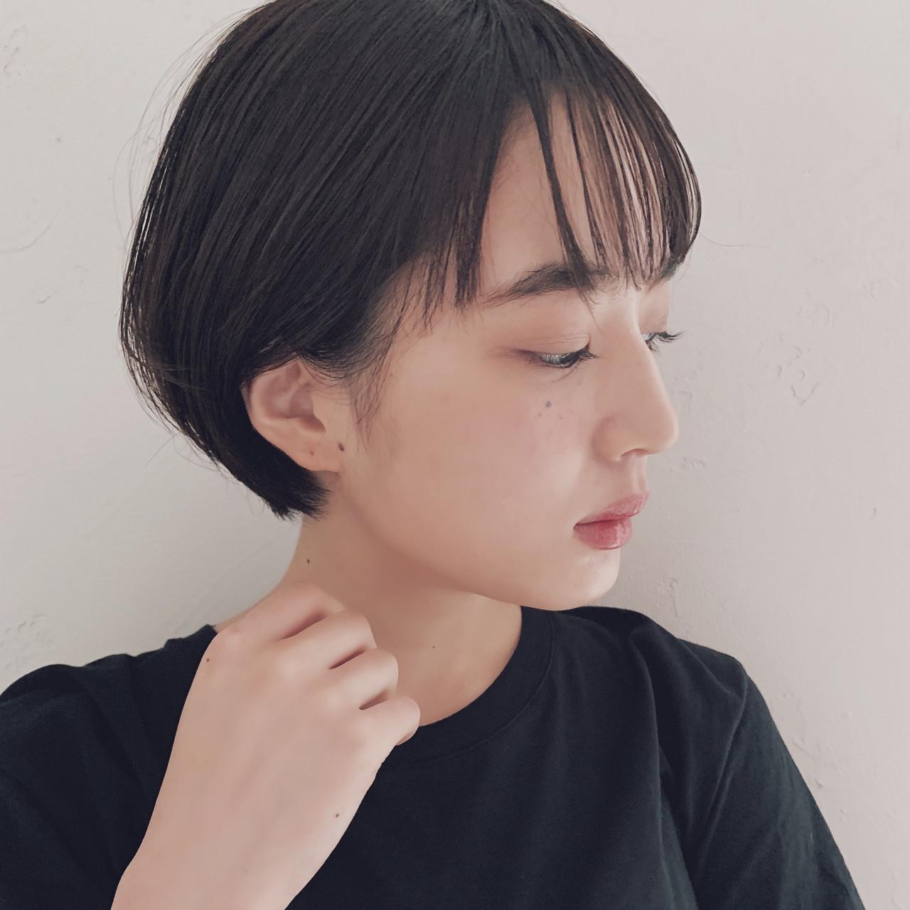 ショートボブ 黒髪 ショート デート ヘアスタイルや髪型の写真・画像 | 信澤貴一【愛され大人可愛いヘア美容師】 / un ami kichijoji