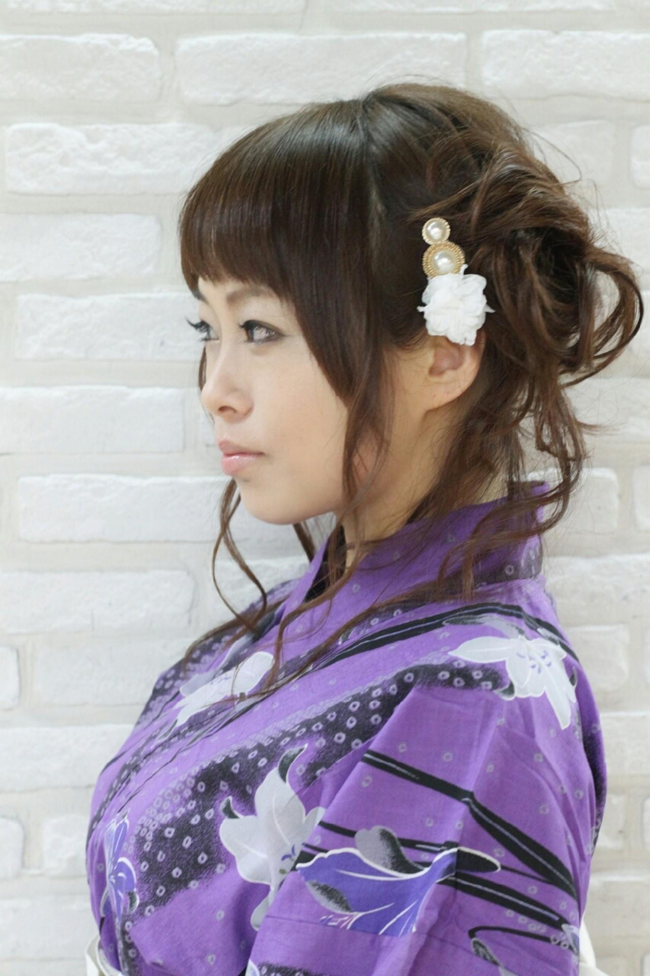 お祭り セミロング 夏 和装 ヘアスタイルや髪型の写真・画像 | やす(やすこ) /