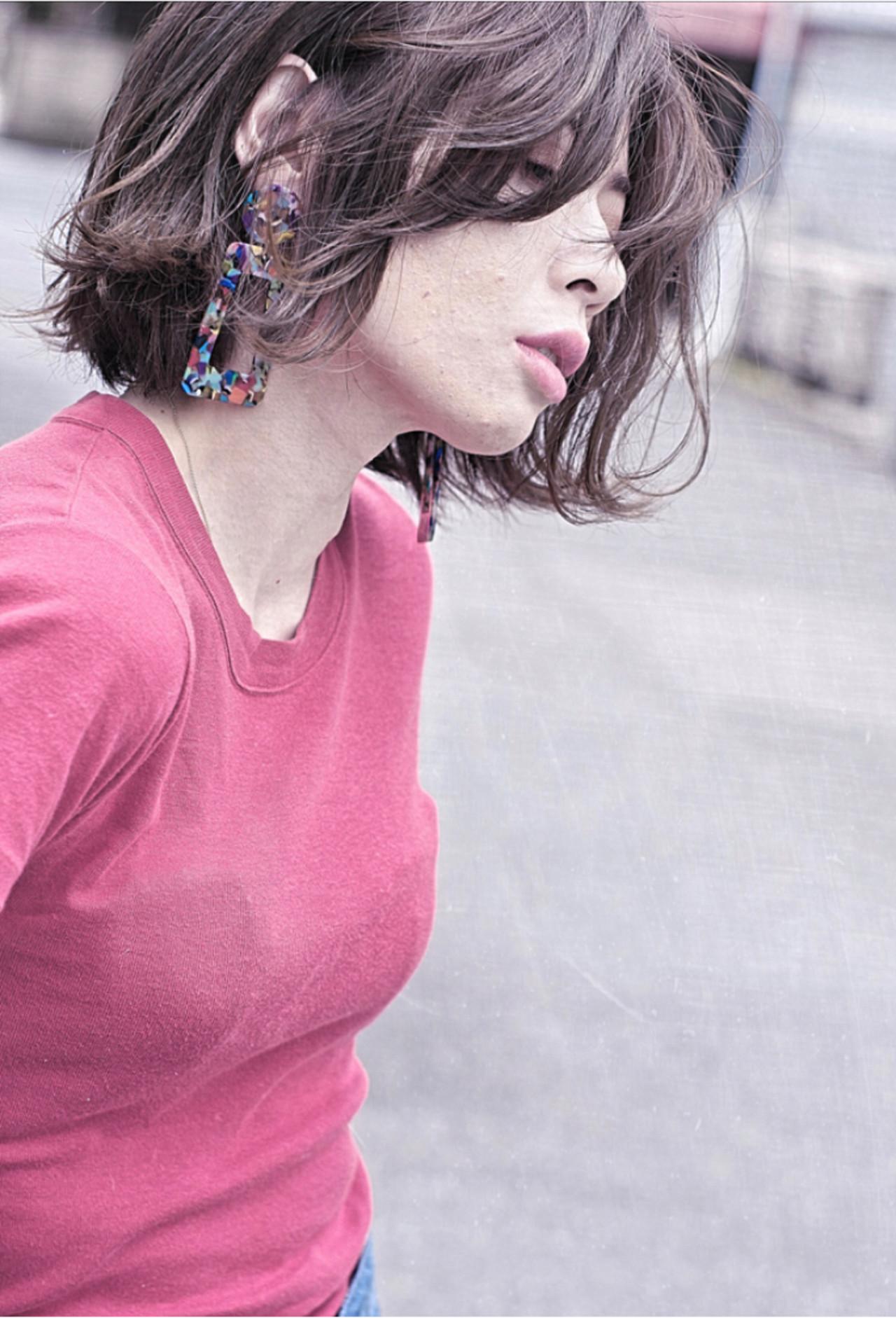 ボブ パーマ サーフスタイル ナチュラル ヘアスタイルや髪型の写真・画像 | ken / sora