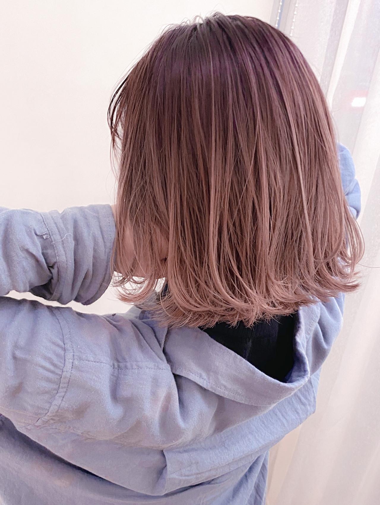 ハイライト 3Dハイライト ピンク ボブヘアスタイルや髪型の写真・画像