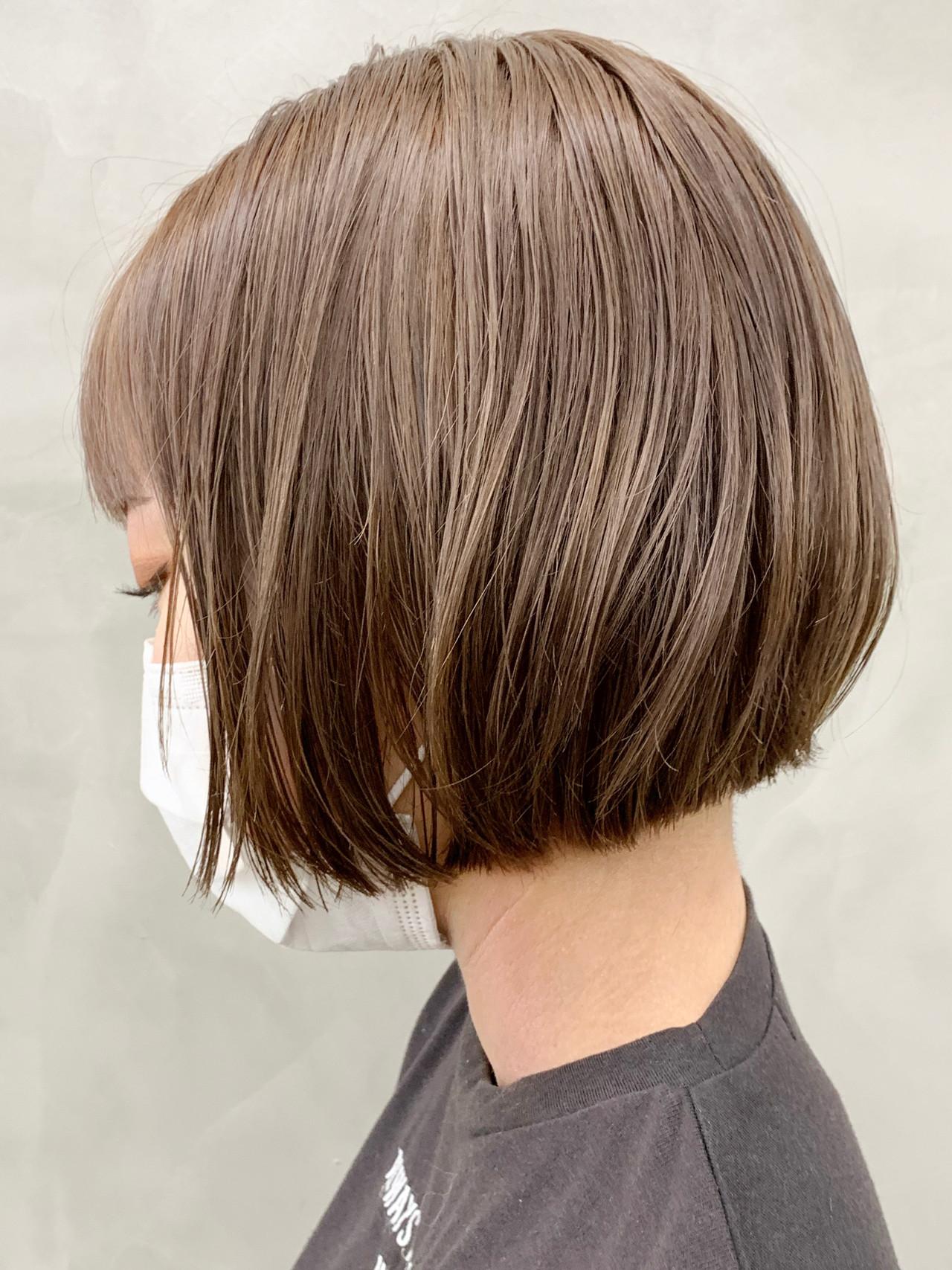 ミニボブ ショート モテボブ ショコラブラウンヘアスタイルや髪型の写真・画像