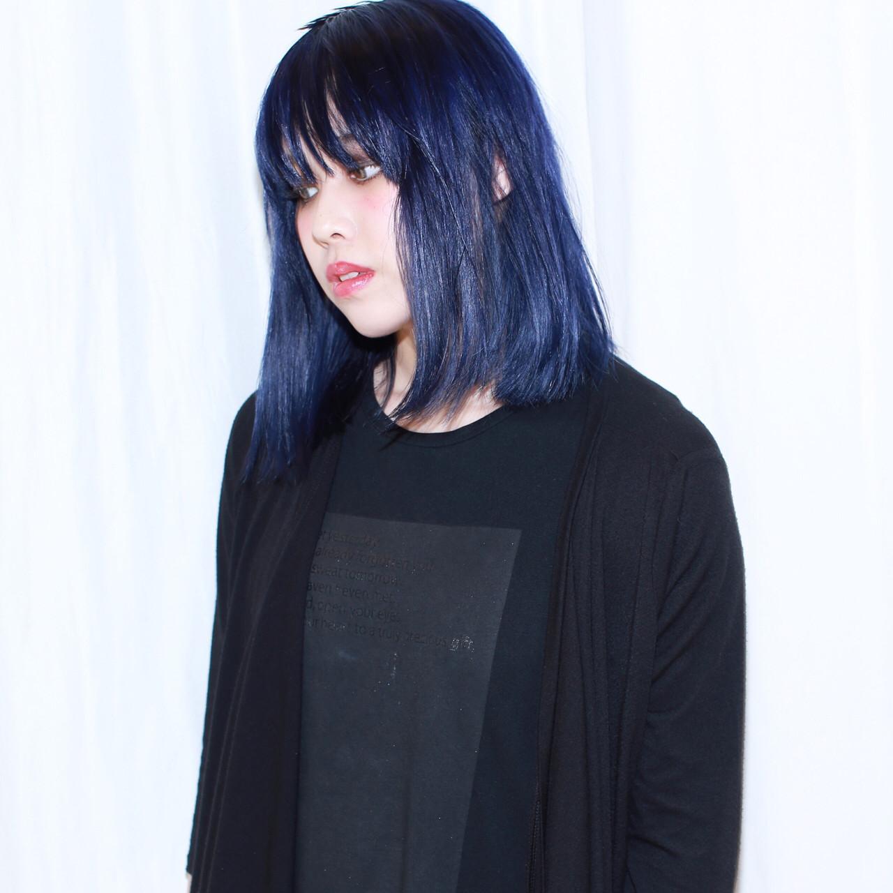 暗髪 ネイビー ストリート ダブルカラー ヘアスタイルや髪型の写真・画像 | イマムラ スナオ / LUKE