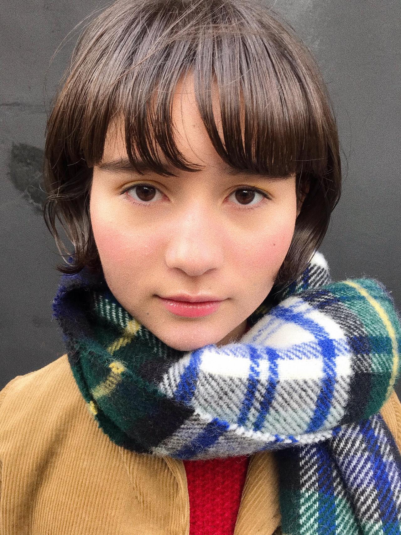 デート ボブ 前髪あり 抜け感 ヘアスタイルや髪型の写真・画像 | 小西敬二郎 / Heartim