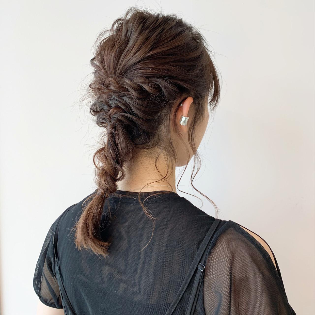 デート 編み込み セミロング 大人女子ヘアスタイルや髪型の写真・画像