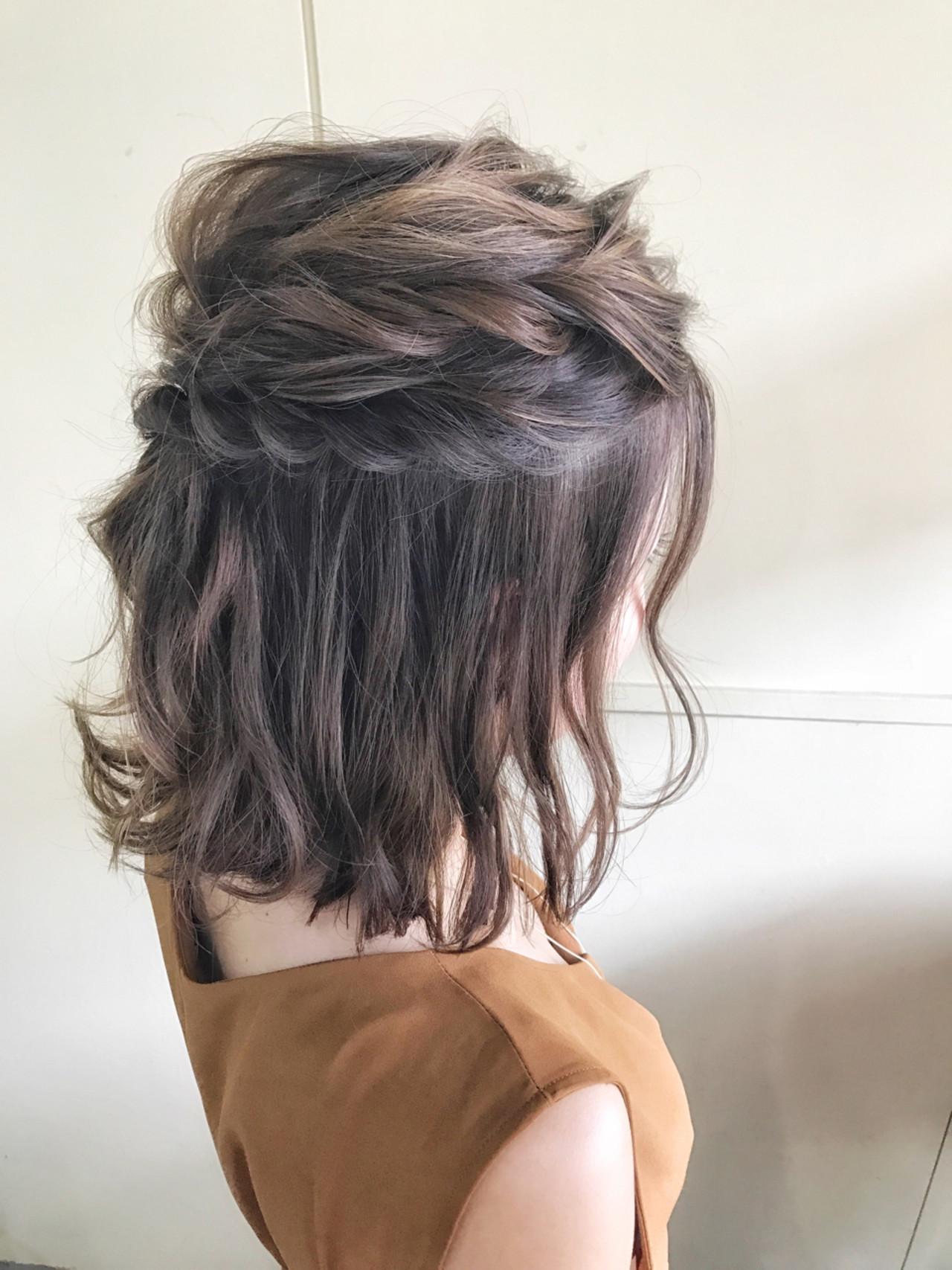 結婚式 ハーフアップ ボブ ヘアアレンジ ヘアスタイルや髪型の写真・画像   サワ / Seamu