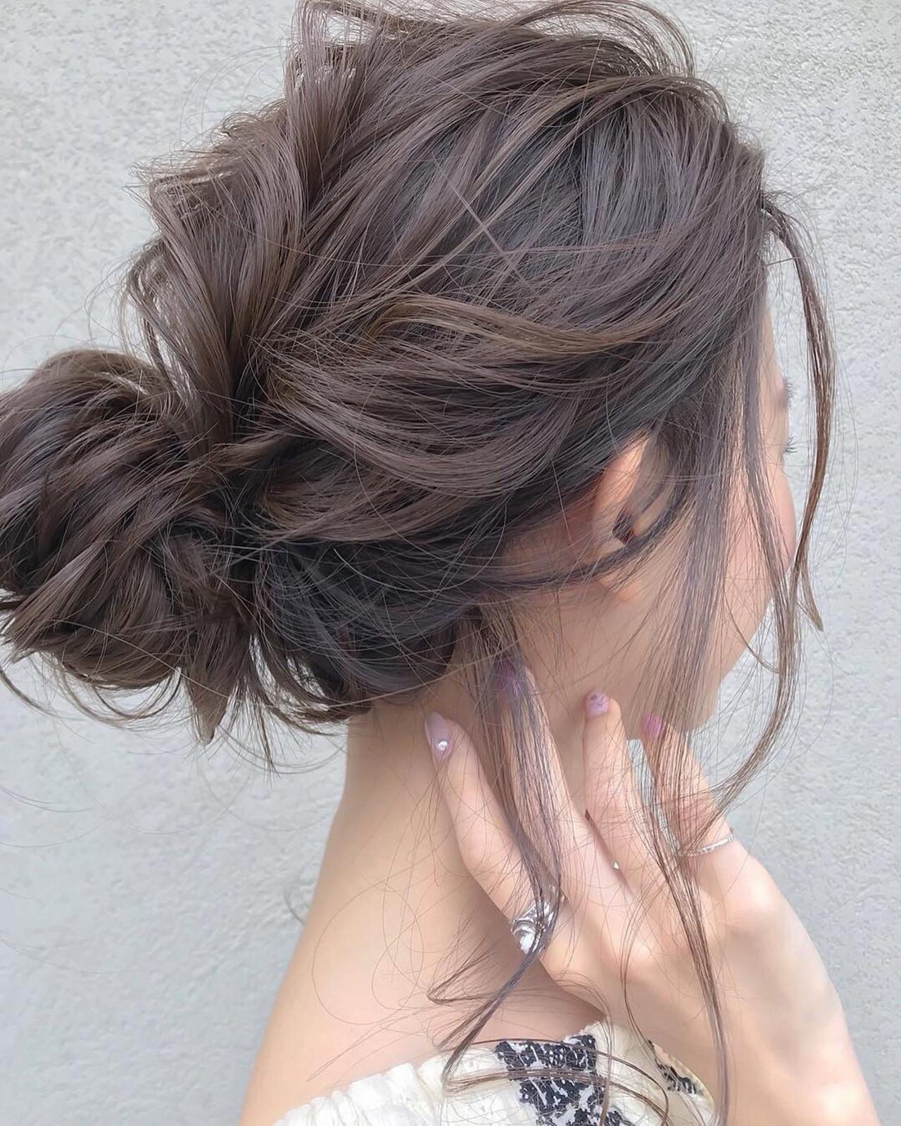 セミロング 結婚式 ヘアアレンジ ナチュラルヘアスタイルや髪型の写真・画像