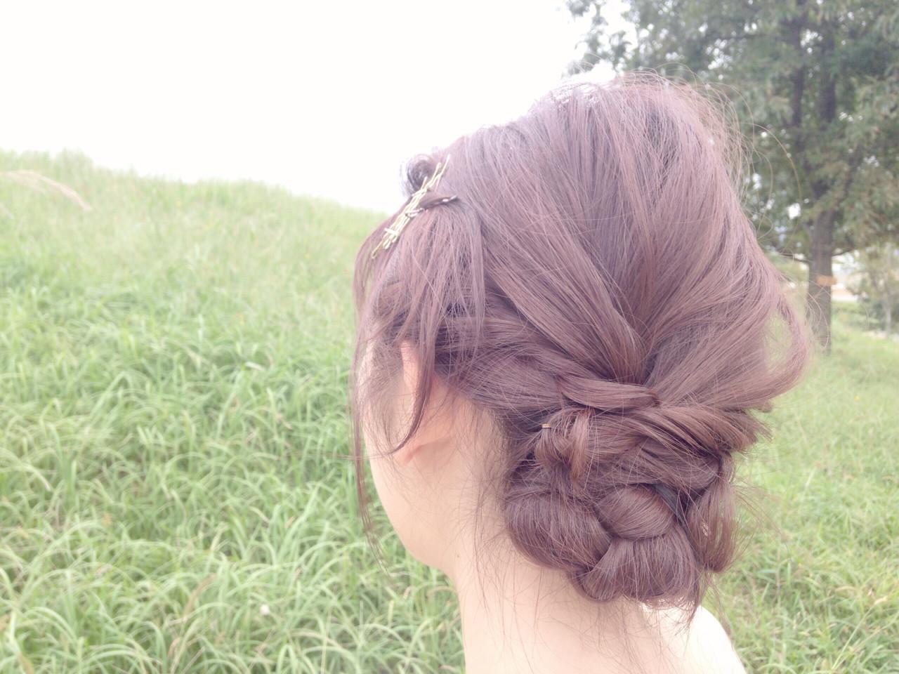 簡単ヘアアレンジ ヘアアレンジ ショート 編み込み ヘアスタイルや髪型の写真・画像   kentaman® / PEACE HAKATA