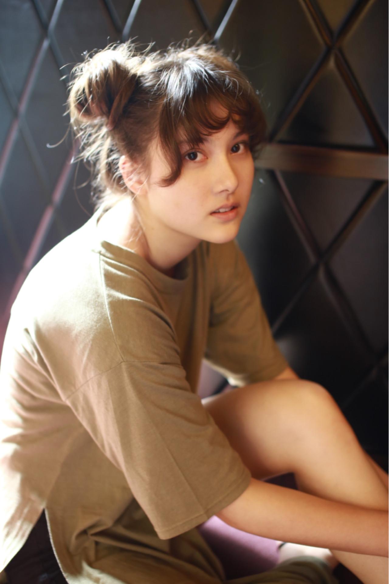 ロング ショート 簡単ヘアアレンジ ナチュラル ヘアスタイルや髪型の写真・画像   中村 猛 / MODE K's 塚本店 (モードケイズ)