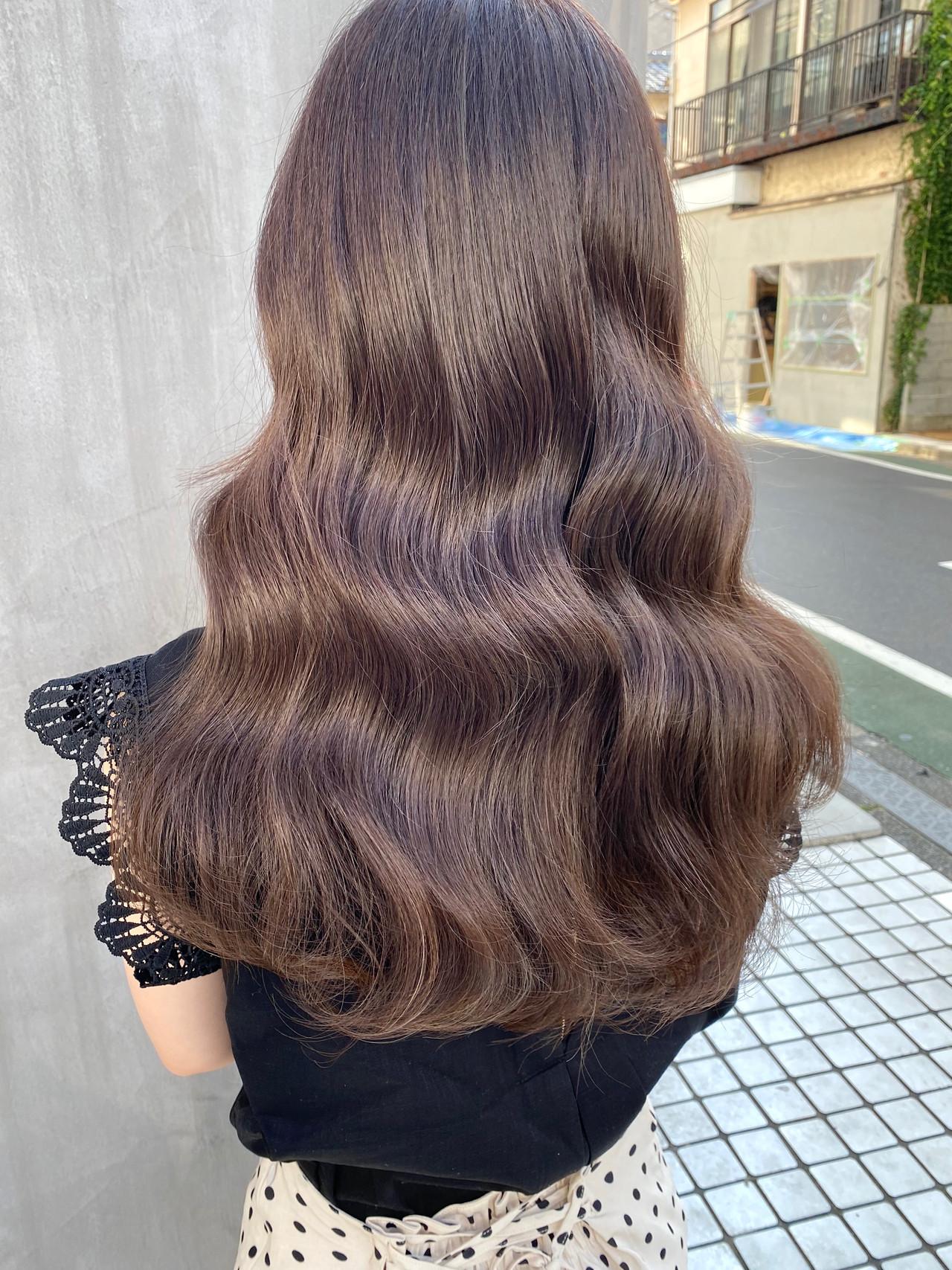 透明感カラー ベージュ セミロング ナチュラルヘアスタイルや髪型の写真・画像