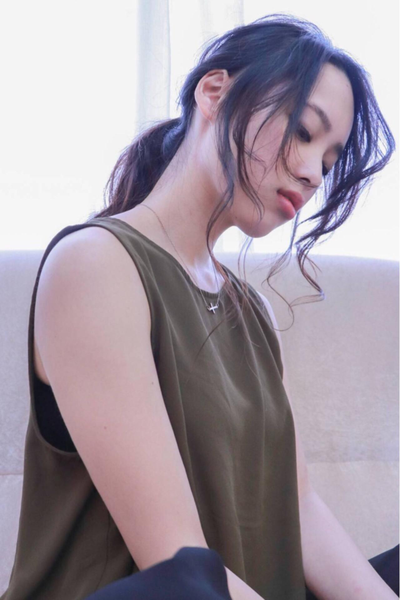 デート 愛され モテ髪 ポニーテール ヘアスタイルや髪型の写真・画像 | RINO /