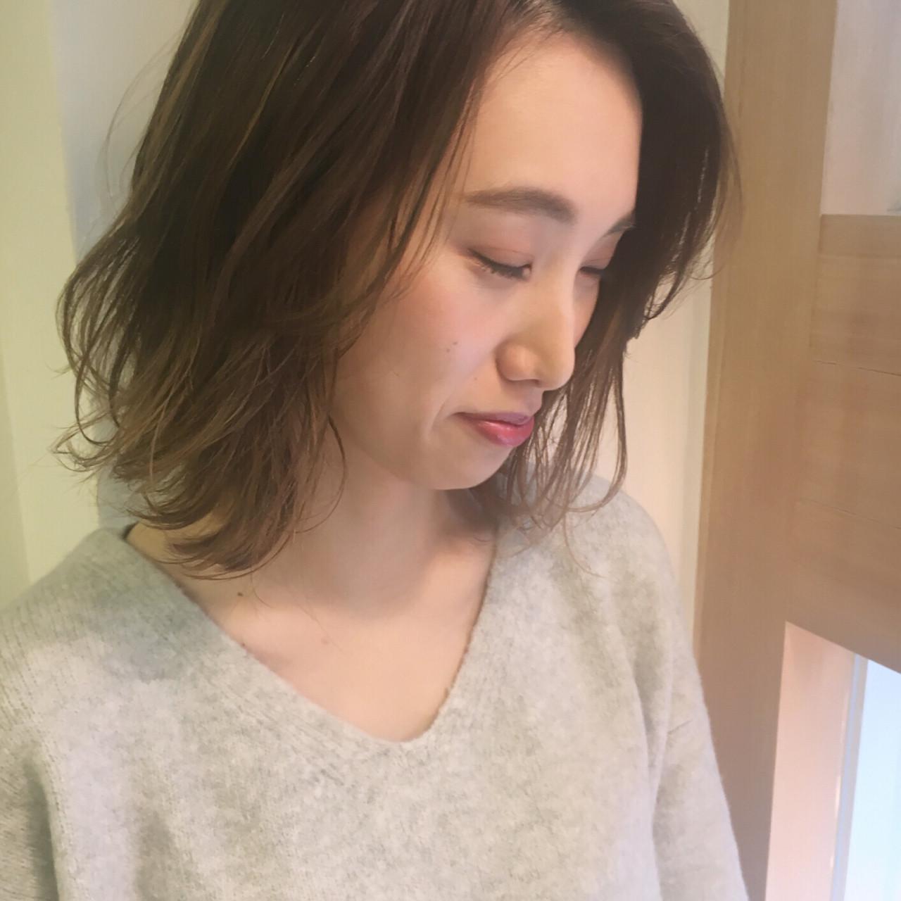 アッシュ ナチュラル ハイライト ボブ ヘアスタイルや髪型の写真・画像 | 岩田 和也 / NOE SALON / NOESALON