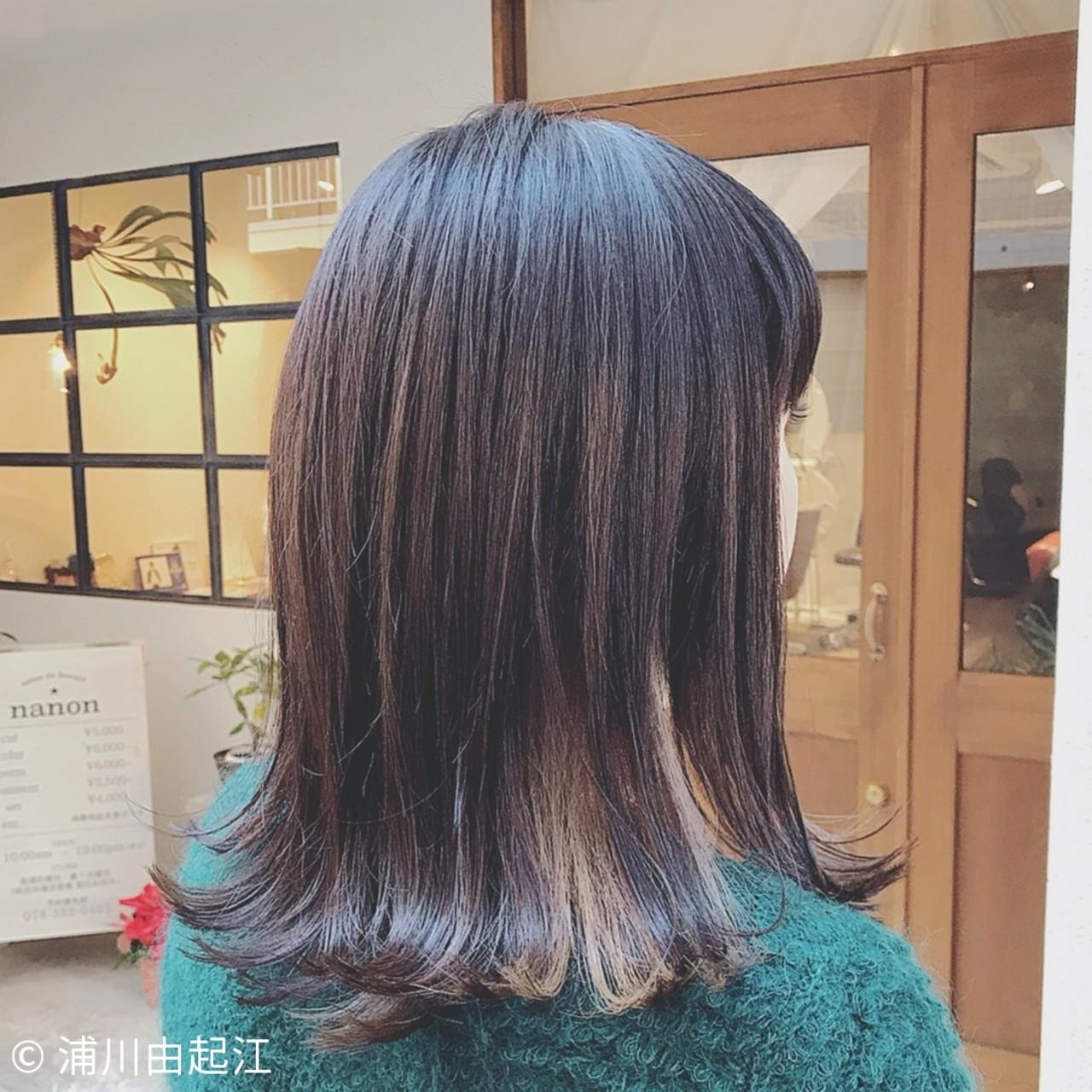 外国人風カラー ミディアム インナーカラー デート ヘアスタイルや髪型の写真・画像 | 浦川由起江 / nanon