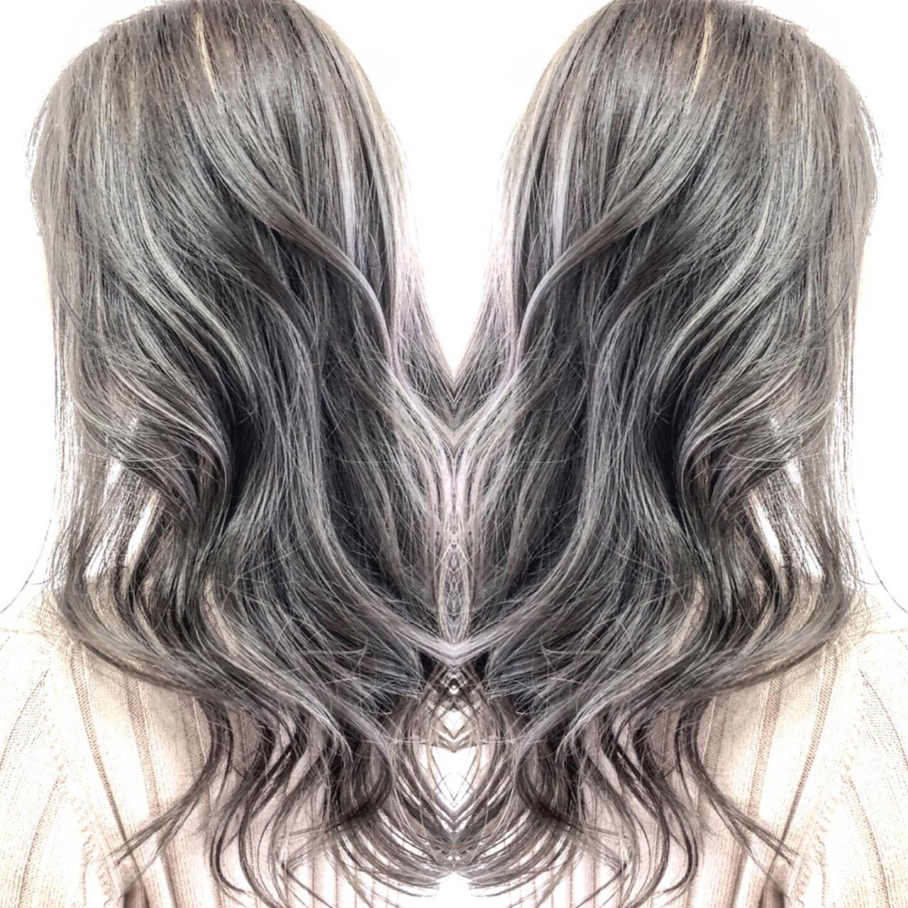 エクステ 前髪エクステ ロング ハイライト ヘアスタイルや髪型の写真・画像 | 福本雅哉 / LILY 心斎橋