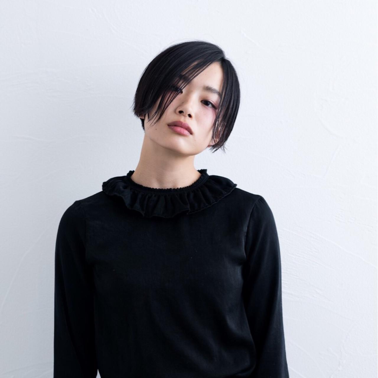 黒髪 ジェンダーレス モード かっこいいヘアスタイルや髪型の写真・画像