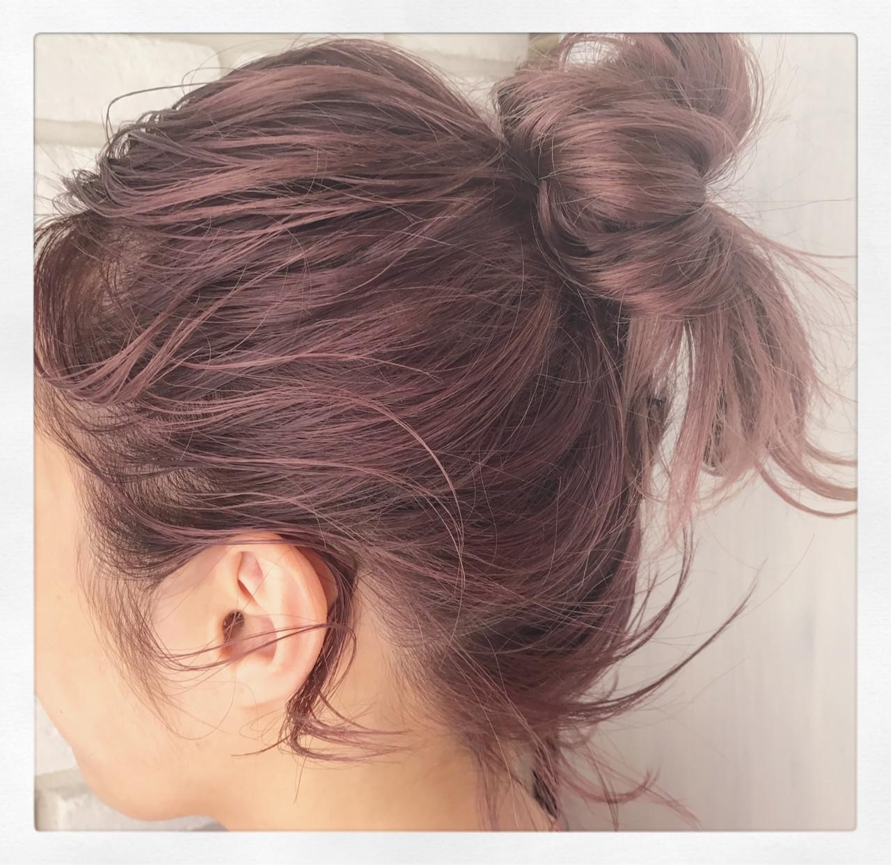ピンク ピンクアッシュ 簡単ヘアアレンジ ボブ ヘアスタイルや髪型の写真・画像 | 一色 さおり / LOAVE AOYAMA(ローブ アオヤマ)