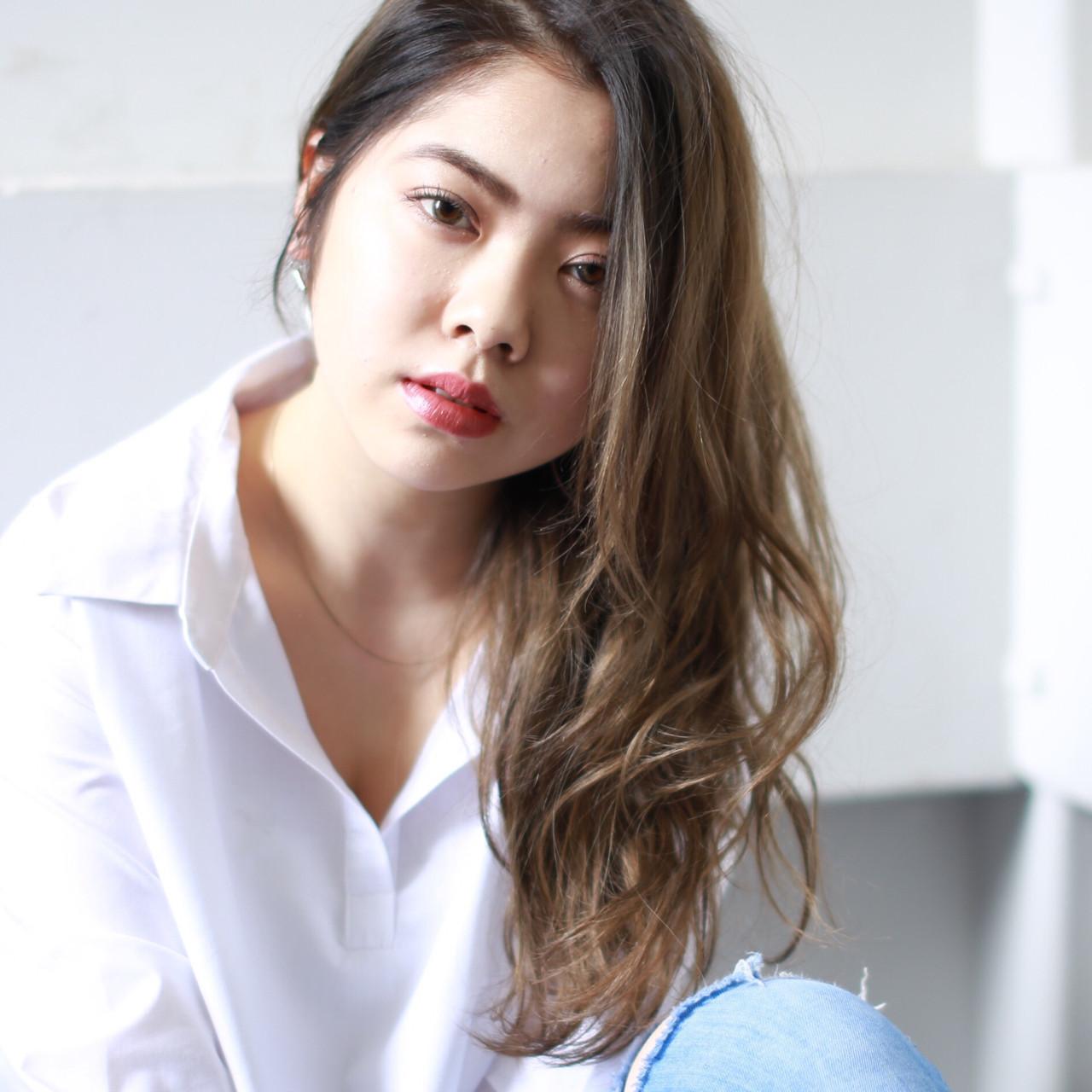 斜め前髪 大人かわいい 色気 ロング ヘアスタイルや髪型の写真・画像   イマムラ スナオ / LUKE