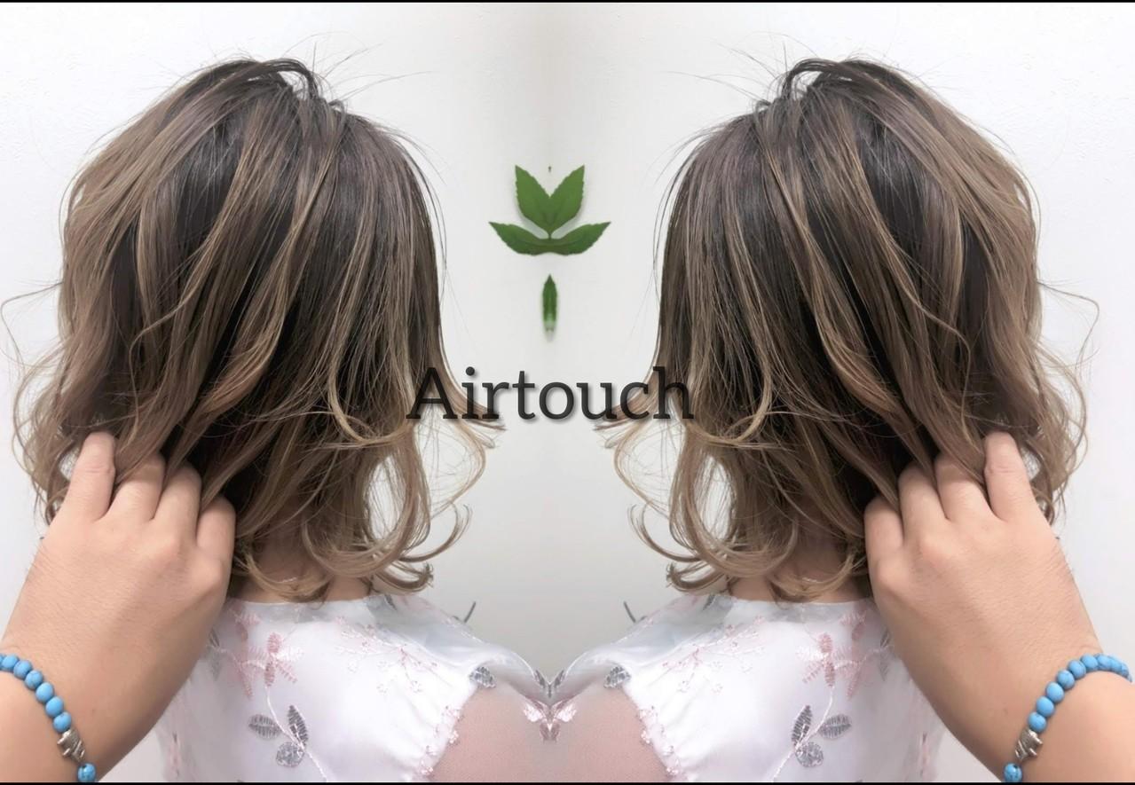ナチュラル セミロング グラデーションカラー 3Dハイライトヘアスタイルや髪型の写真・画像