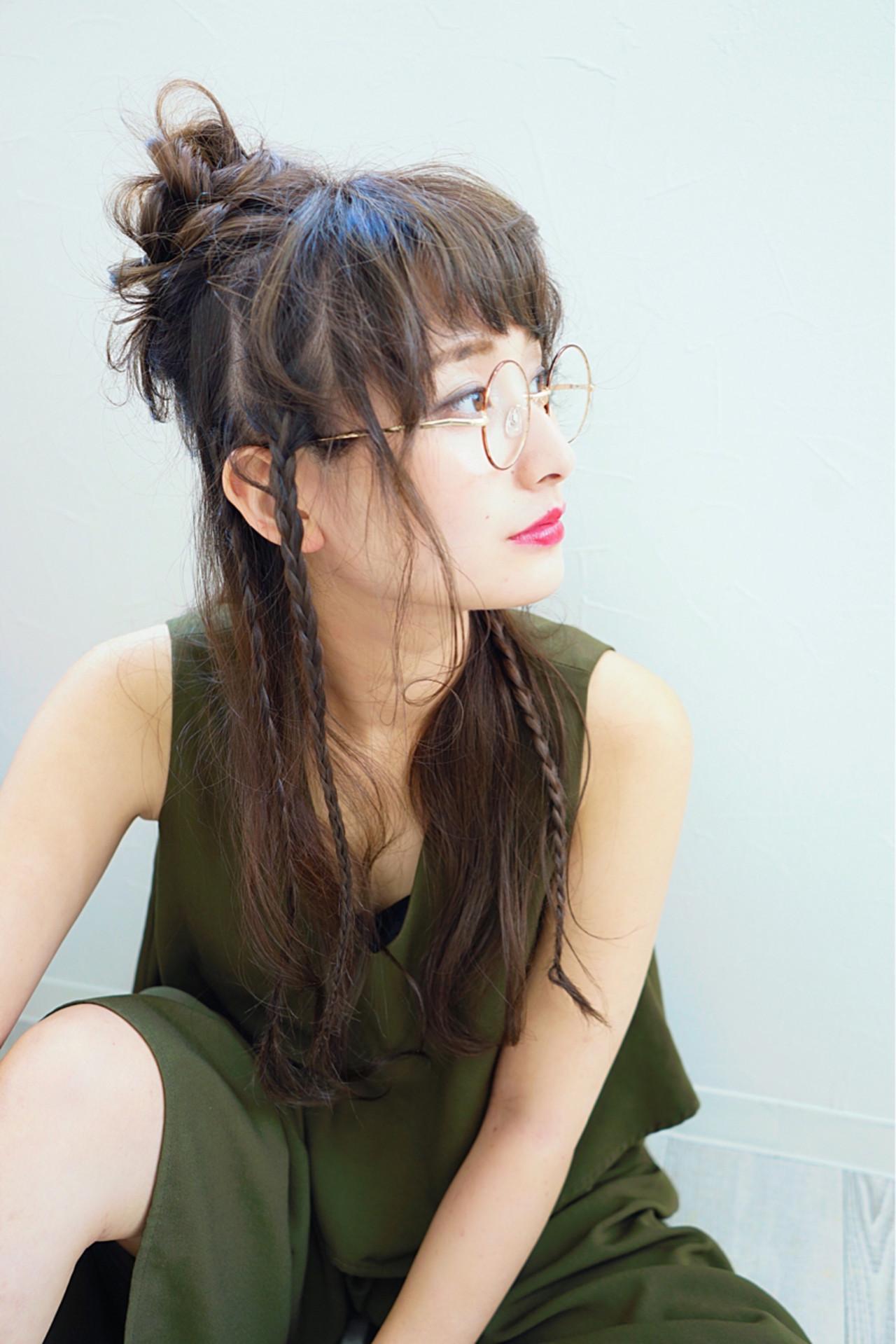 ロング ヘアアレンジ 前髪あり ハーフアップヘアスタイルや髪型の写真・画像